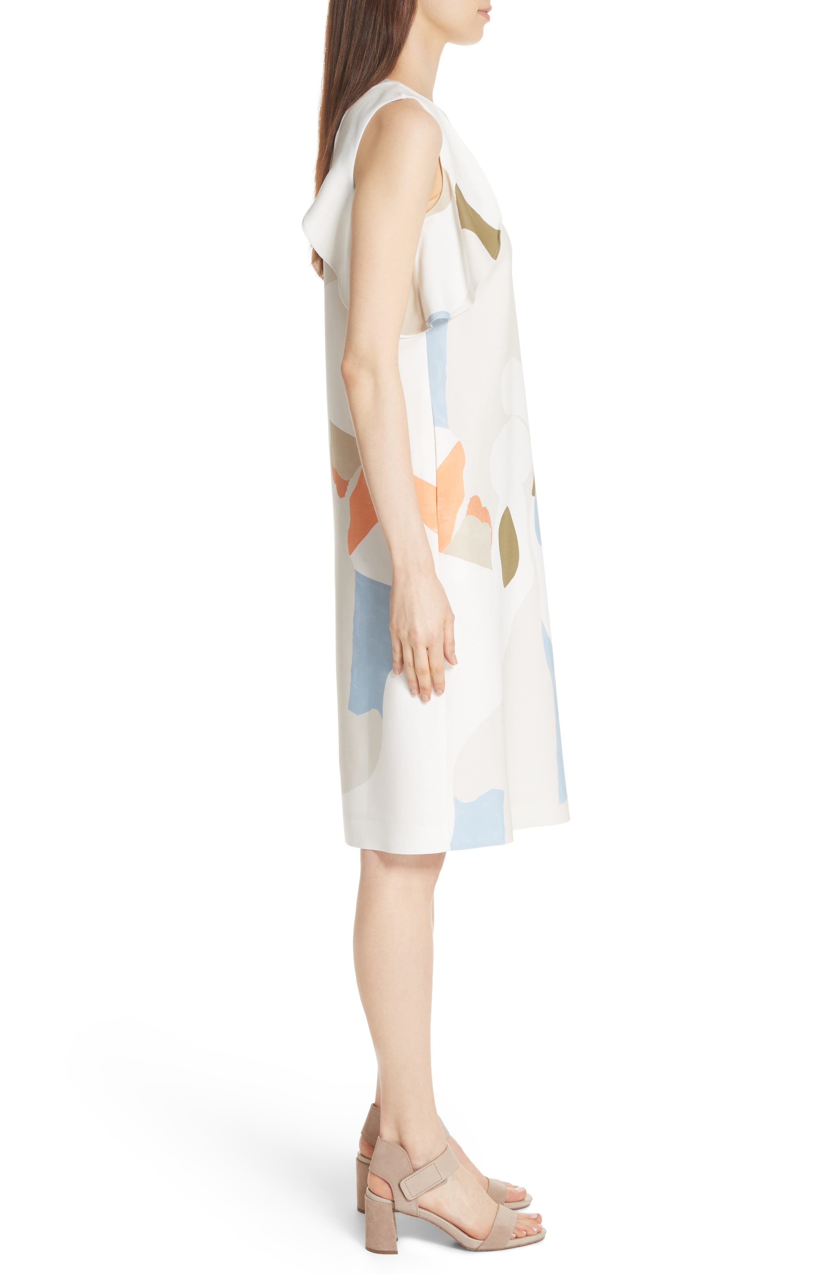 Landscape Expression Print Ruffle Dress,                             Alternate thumbnail 3, color,                             Cloud Multi