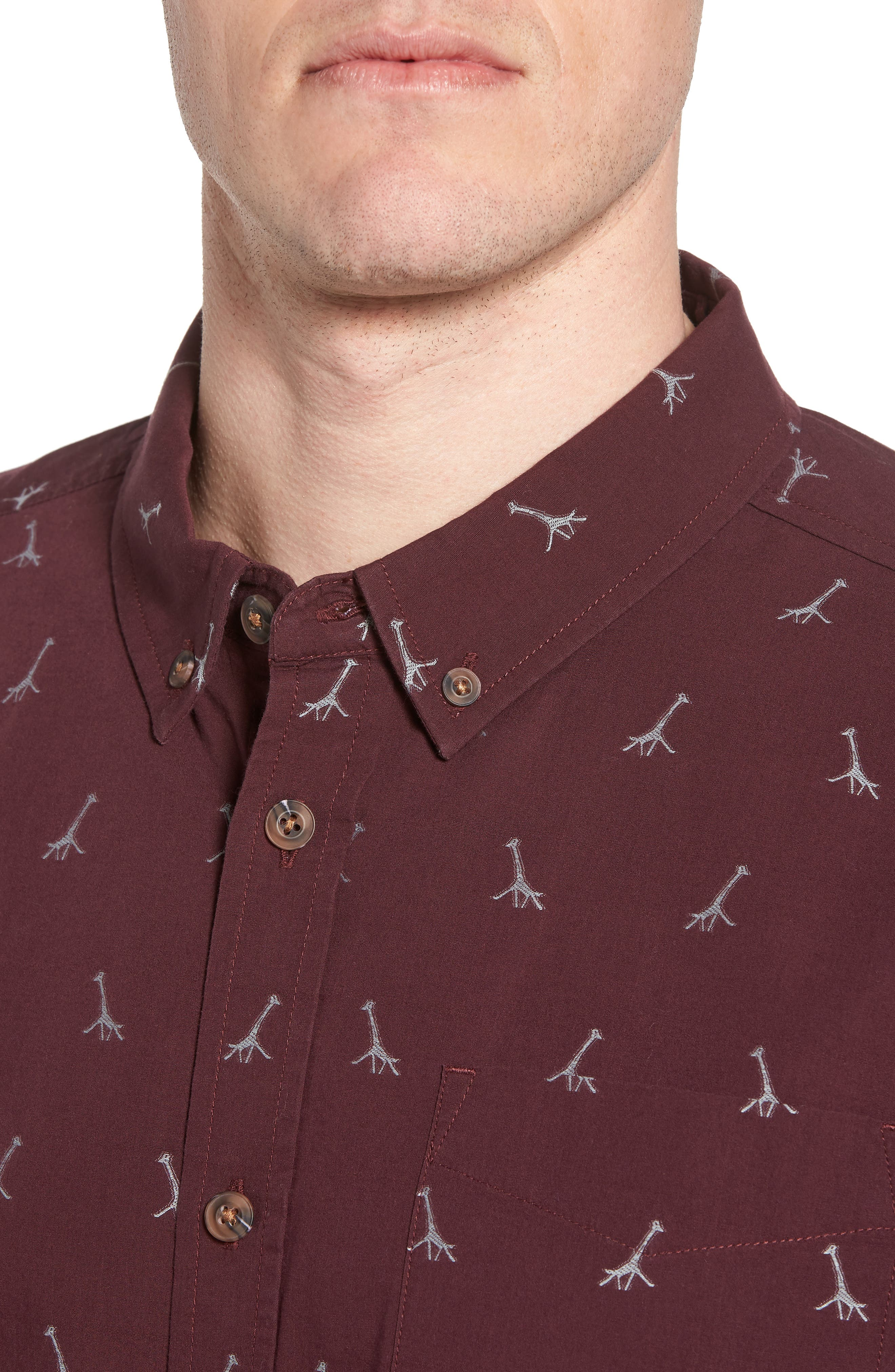 Broderick Slim Fit Short Sleeve Sport Shirt,                             Alternate thumbnail 4, color,                             Thistle