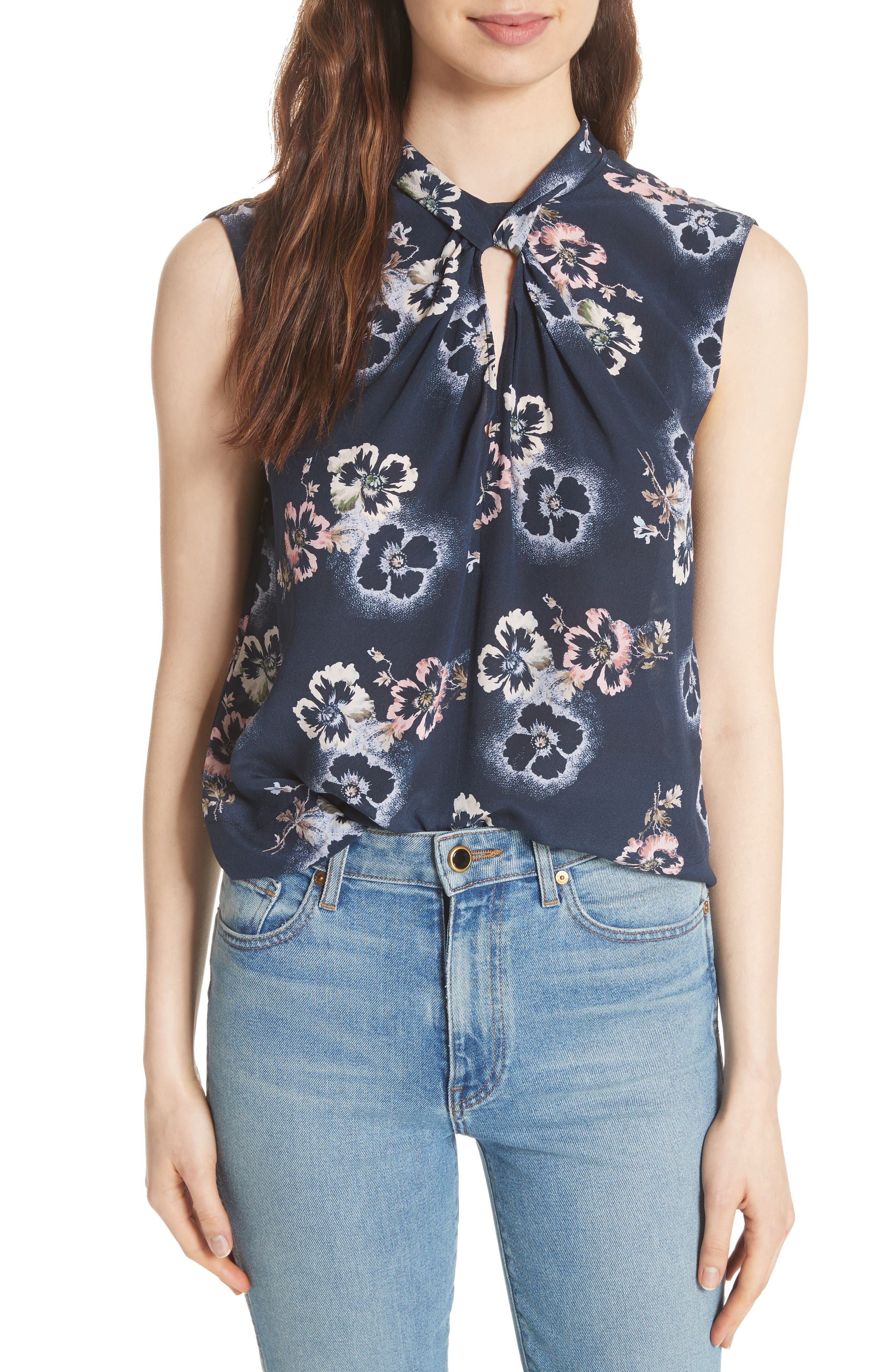 Floral Knotted Silk Top,                         Main,                         color, Navy