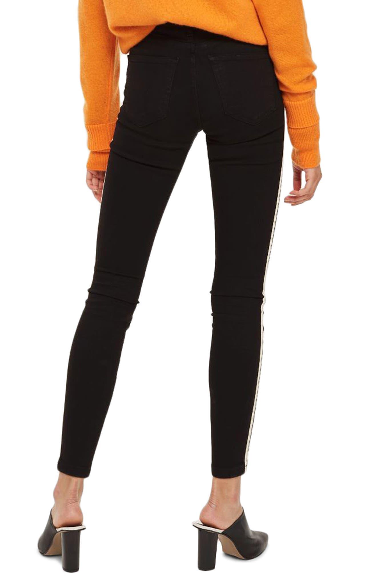 Moto Side Stripe Jeans,                             Alternate thumbnail 3, color,                             Black Multi