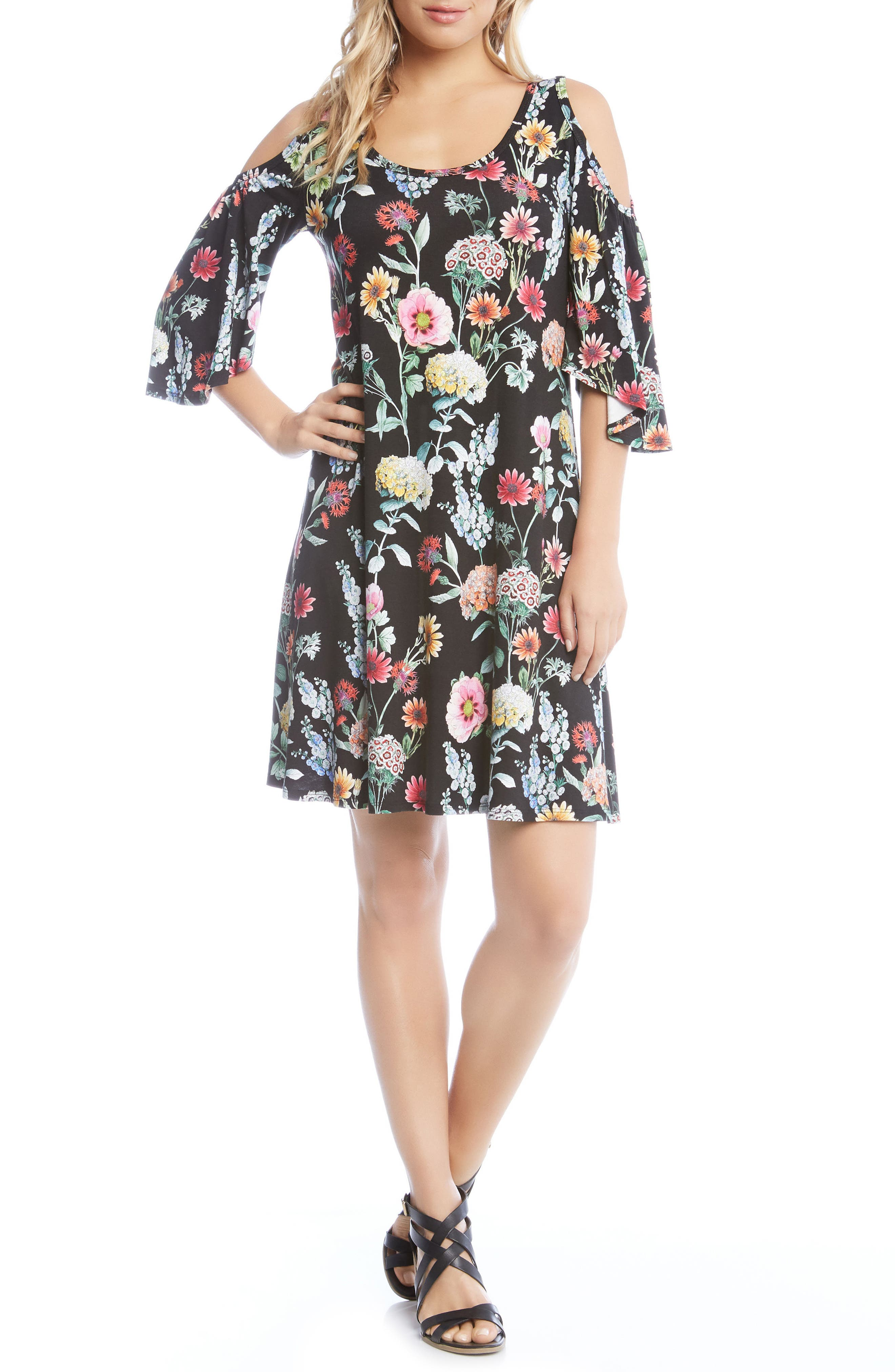 Cold Shoulder A-Line Dress,                             Main thumbnail 1, color,                             Floral