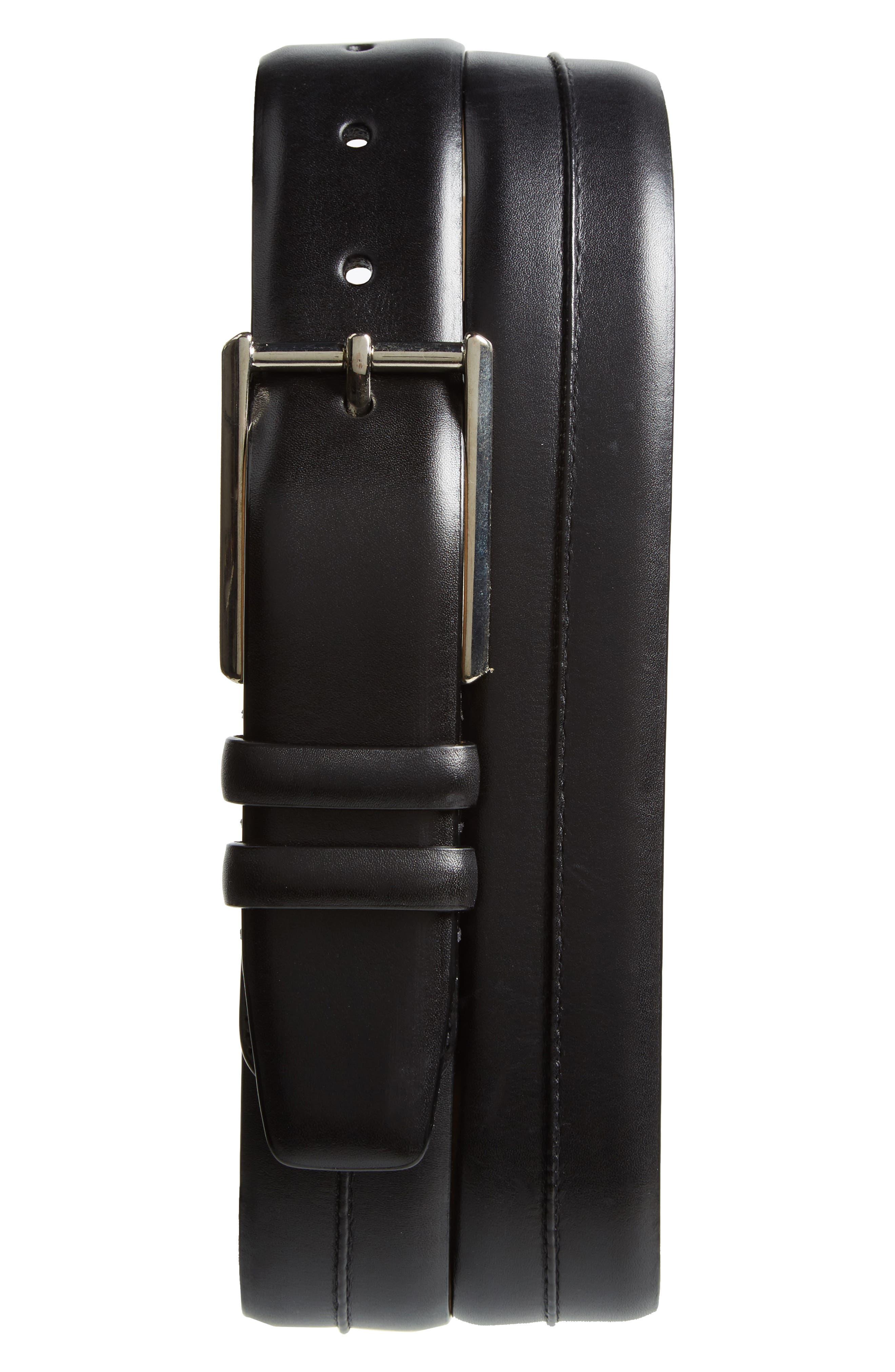 Palma Leather Belt,                             Main thumbnail 1, color,                             Black