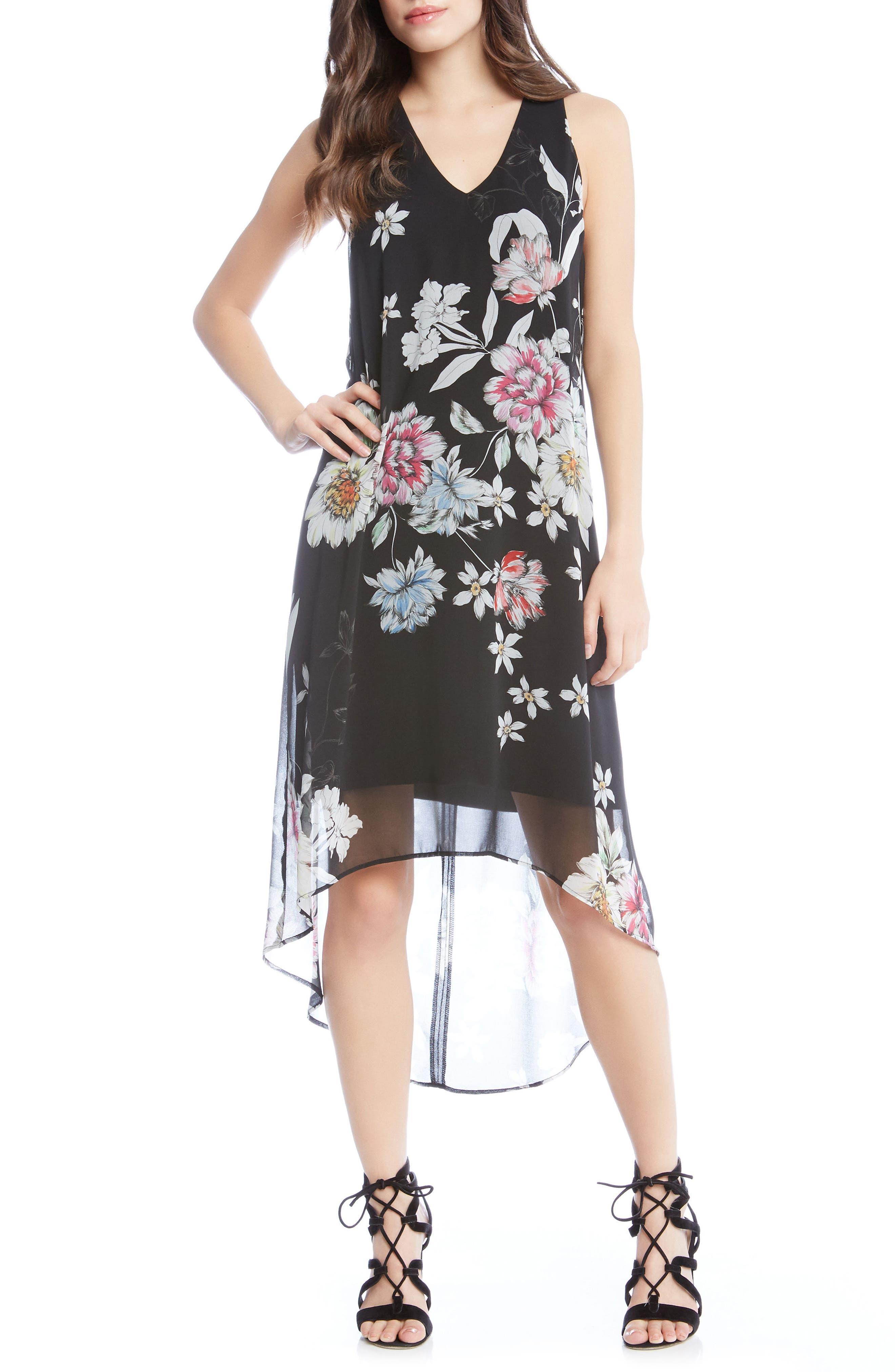 Floral High/Low Dress,                             Main thumbnail 1, color,                             Print