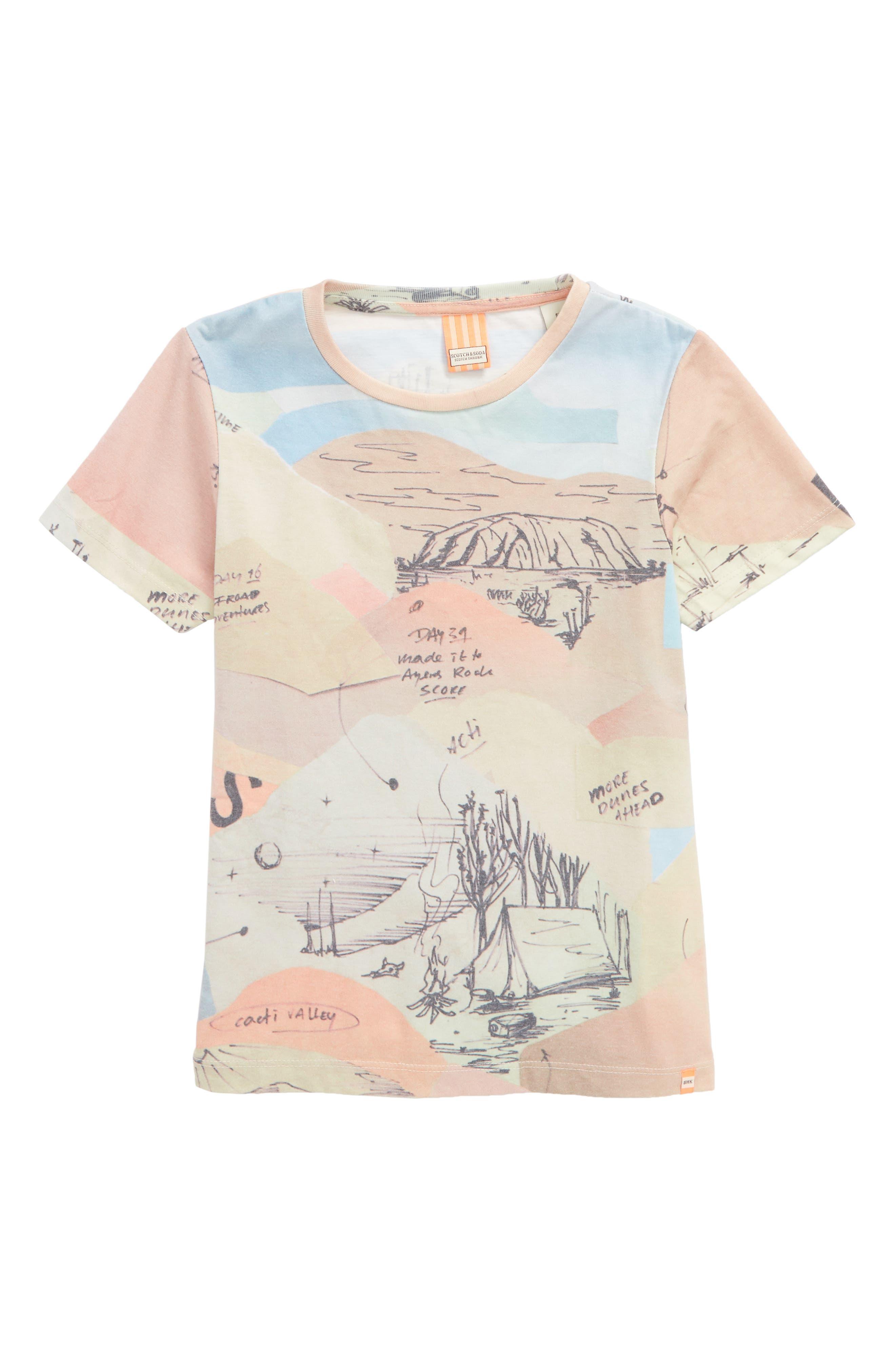 Allover Print T-Shirt,                             Main thumbnail 1, color,                             Pink