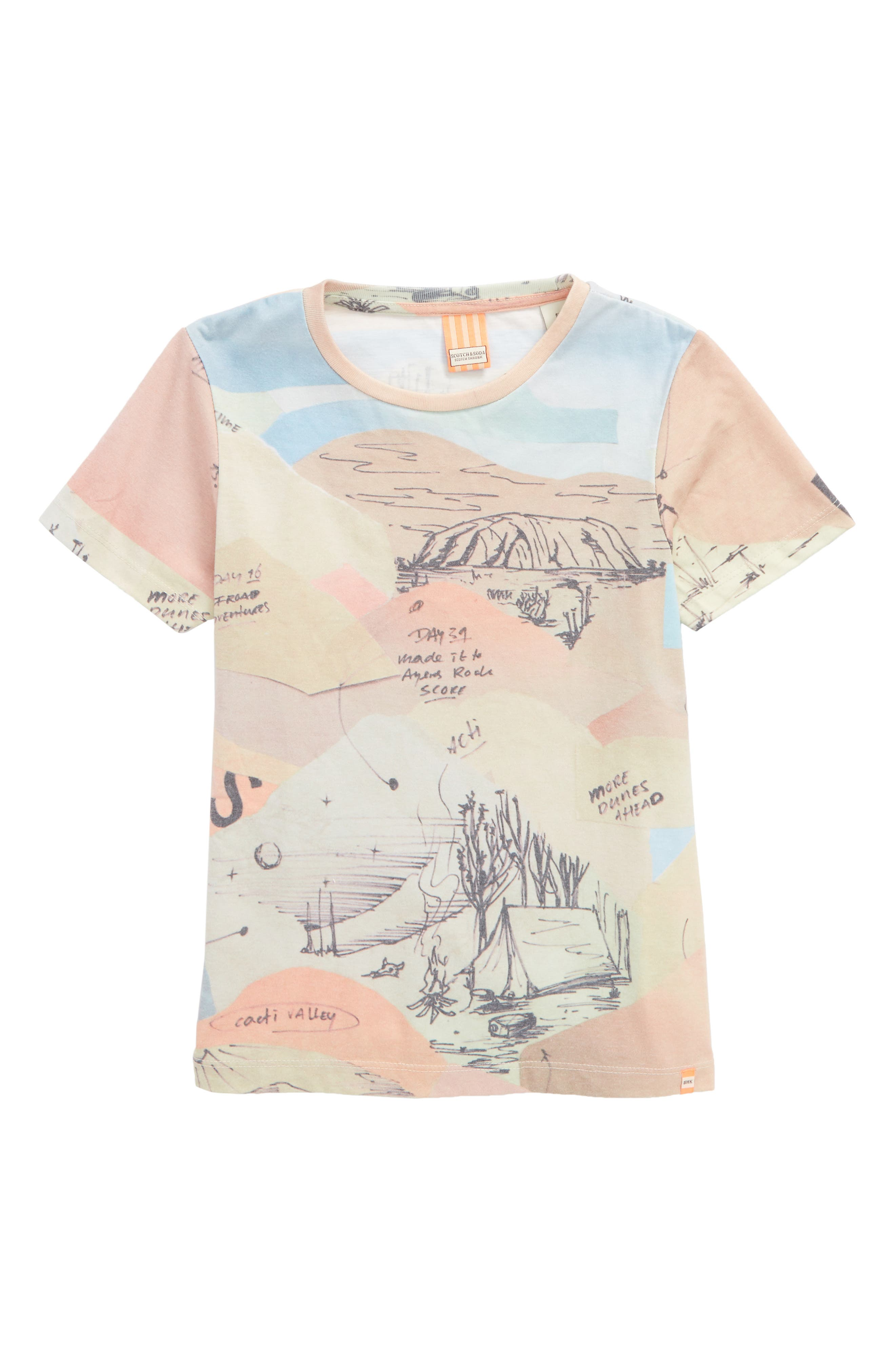 Allover Print T-Shirt,                         Main,                         color, Pink