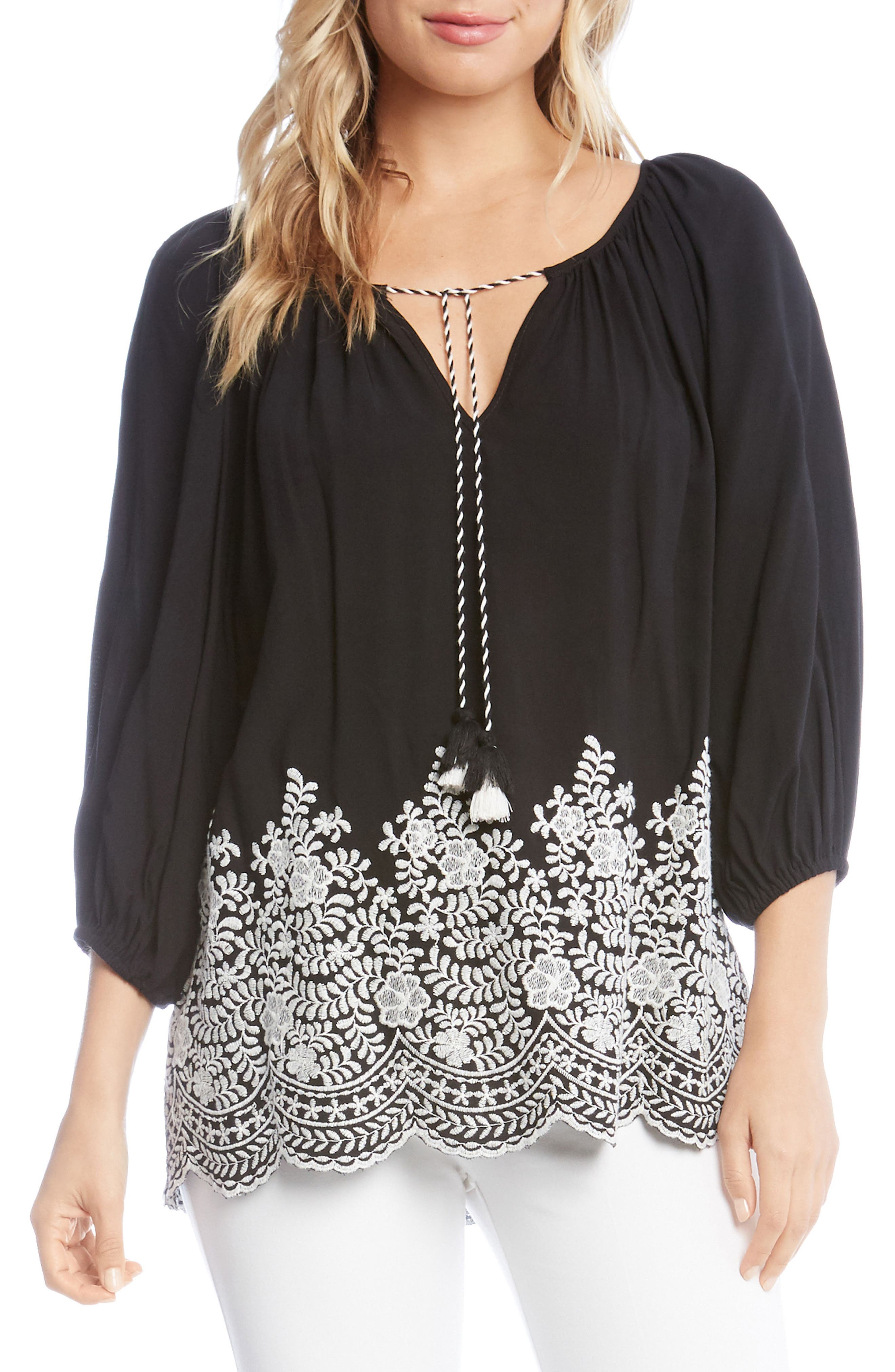 Embroidered Tassel Tie Top,                         Main,                         color, Black