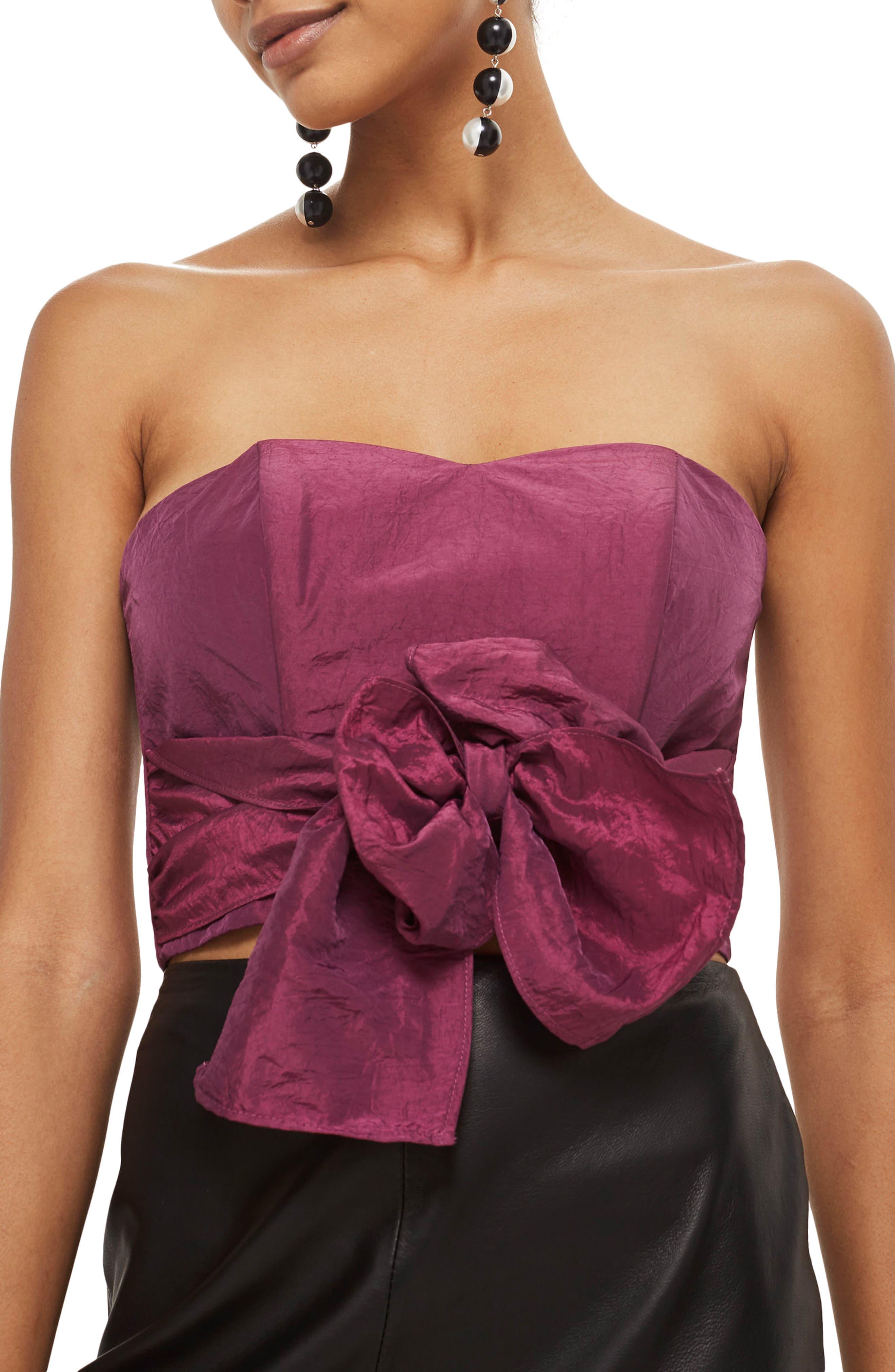 Taffeta Sweetheart Bandeau Tie Blouse,                         Main,                         color, Raspberry