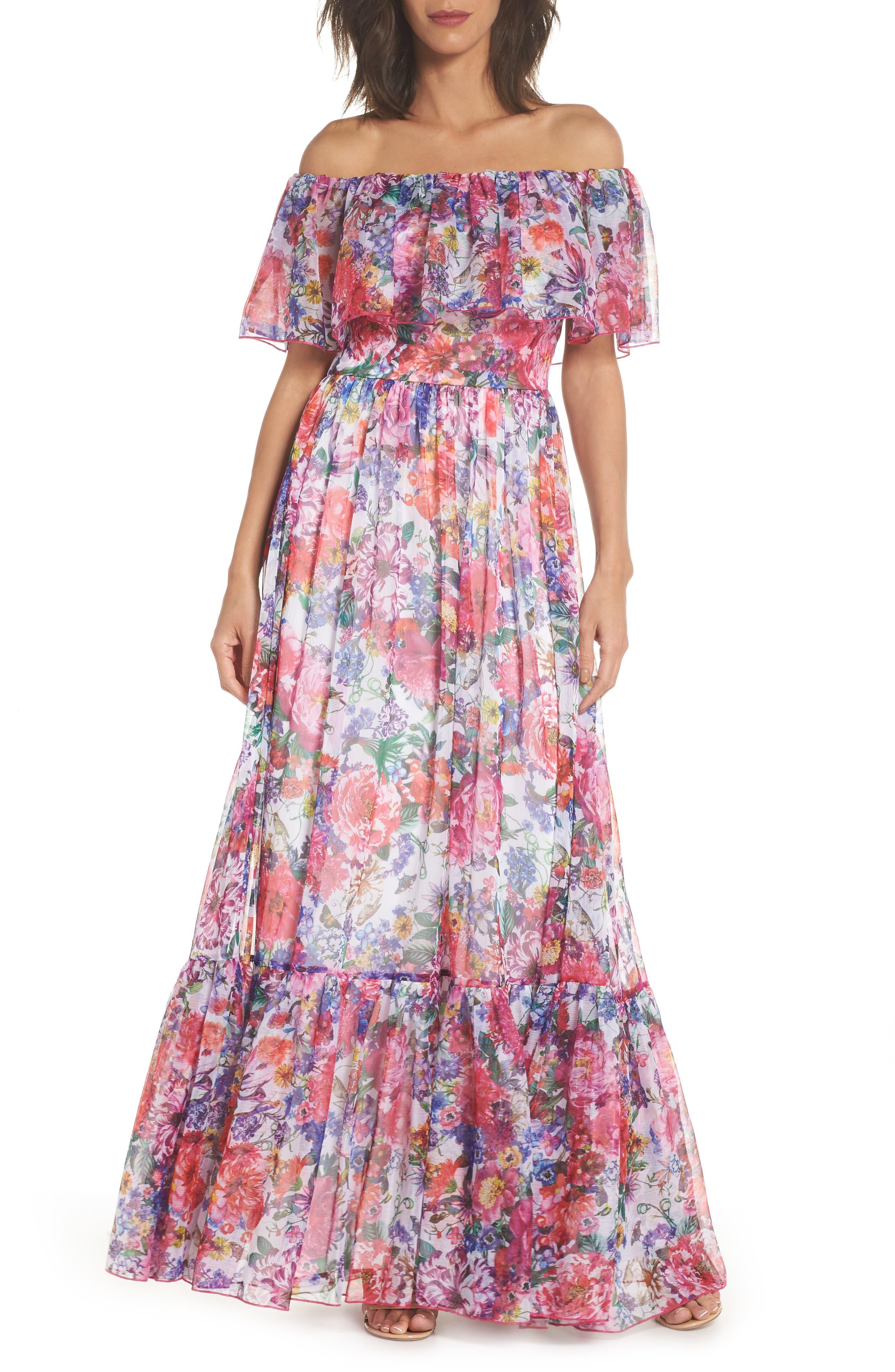 Tadashi Shoji Paola Floral Off the Shoulder Gown