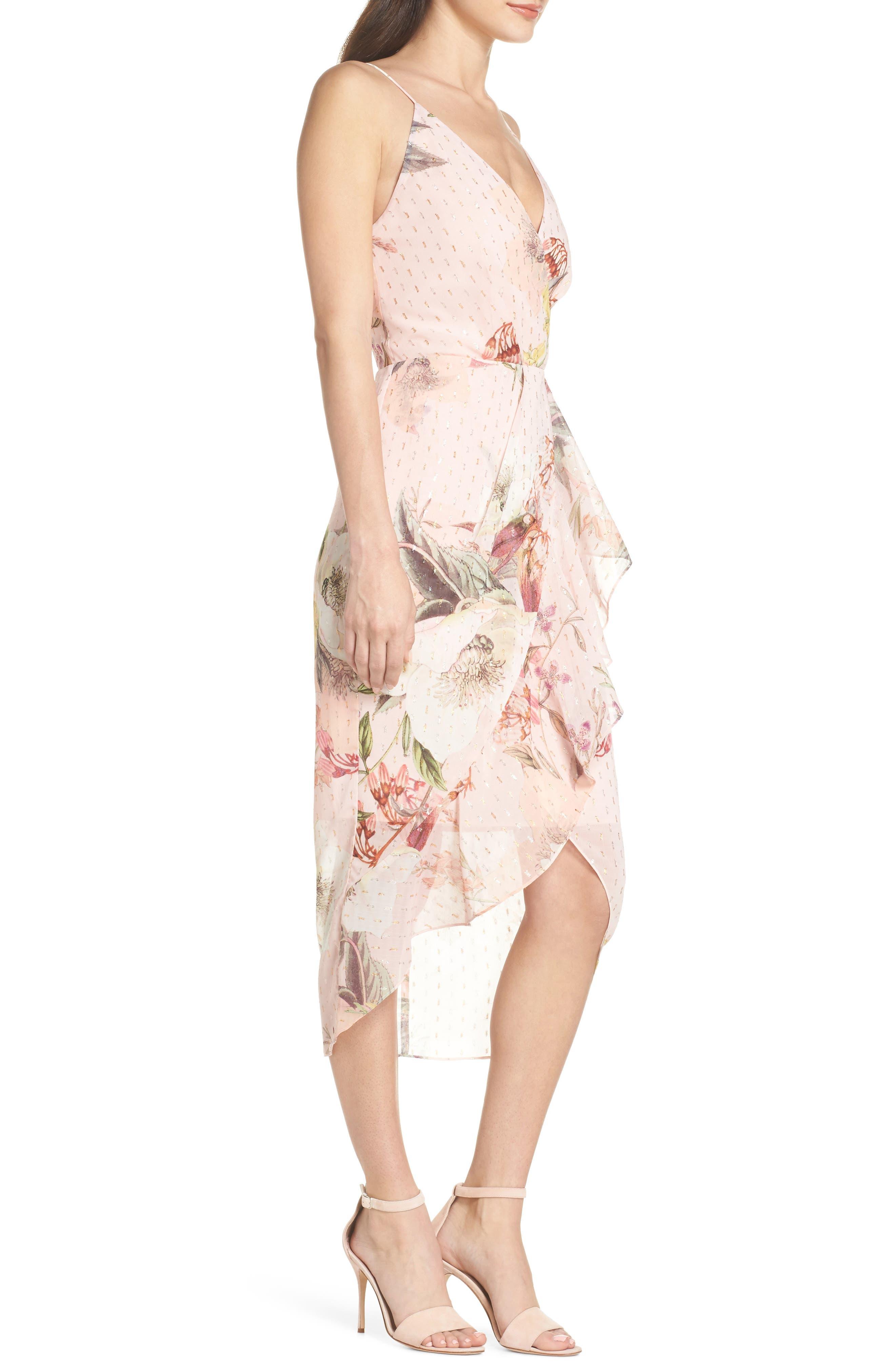 Flora Fade Drape Dress,                             Alternate thumbnail 3, color,                             Print