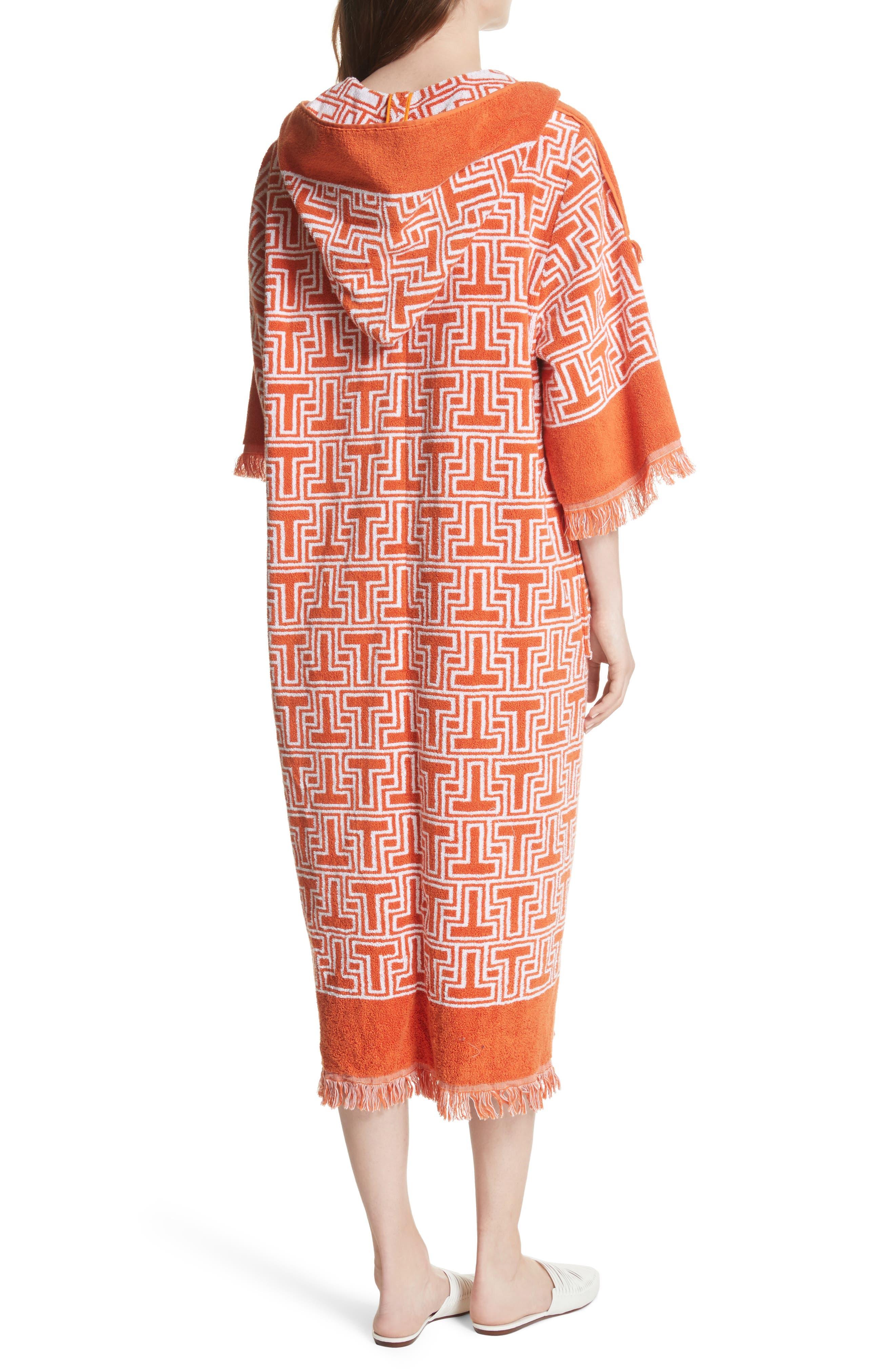 Tile T Terry Coat,                             Alternate thumbnail 2, color,                             Orange Towel Jacquard