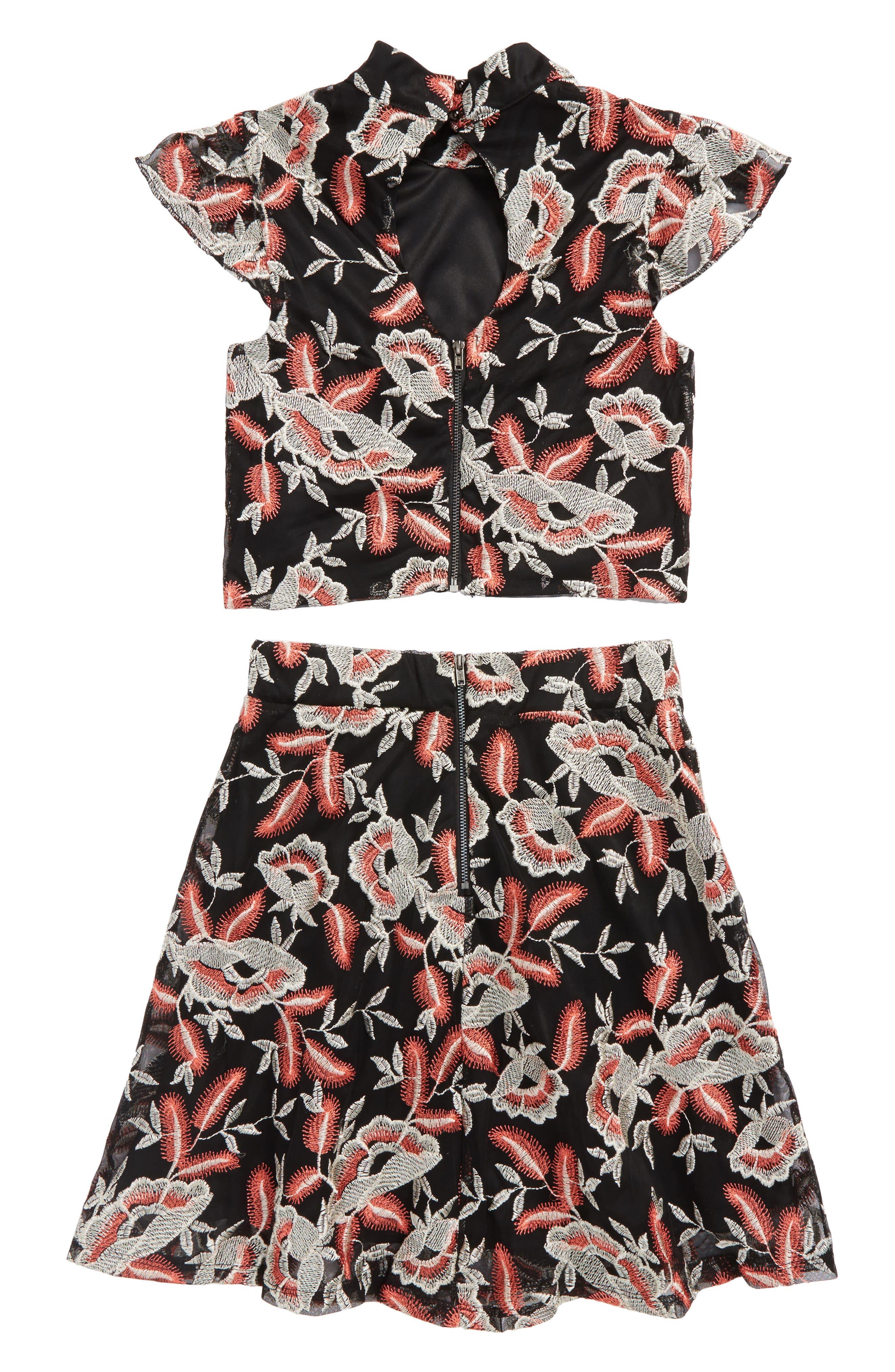 Floral Embroidered Top & Skirt Set,                             Alternate thumbnail 2, color,                             Black