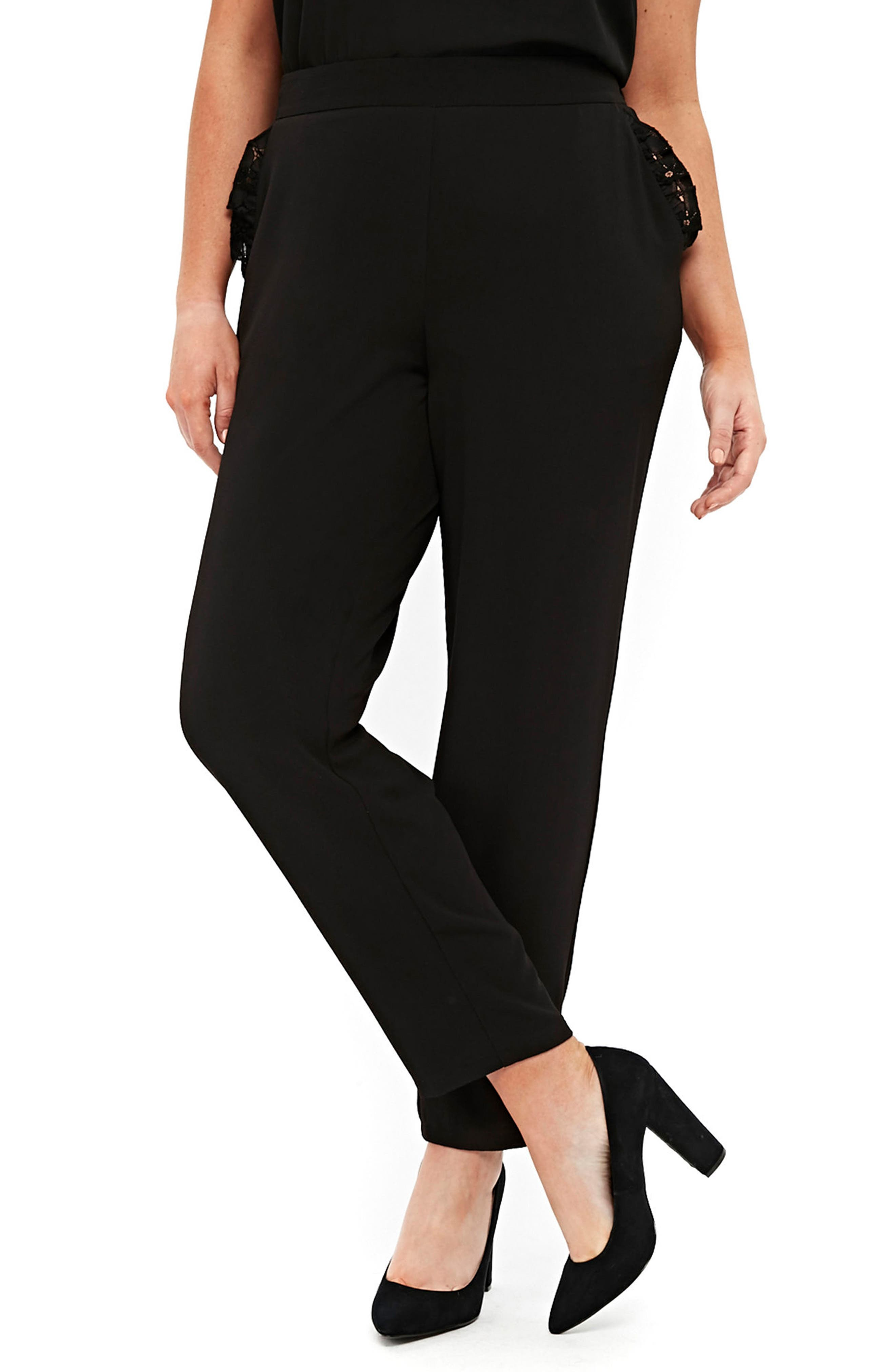 Evans Lace Trim Tapered Pants (Plus Size)