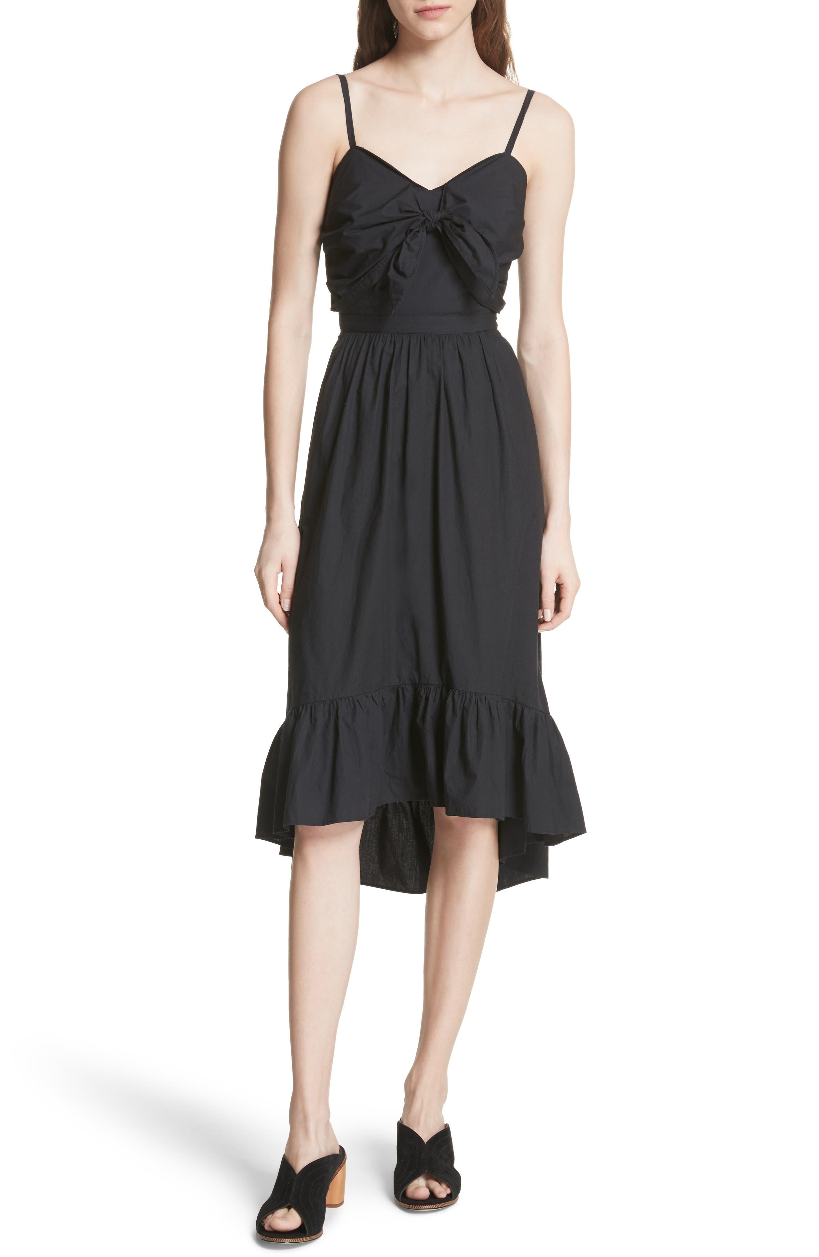 Clorinda Tie Front Cutout Cotton Dress,                             Main thumbnail 1, color,                             Caviar