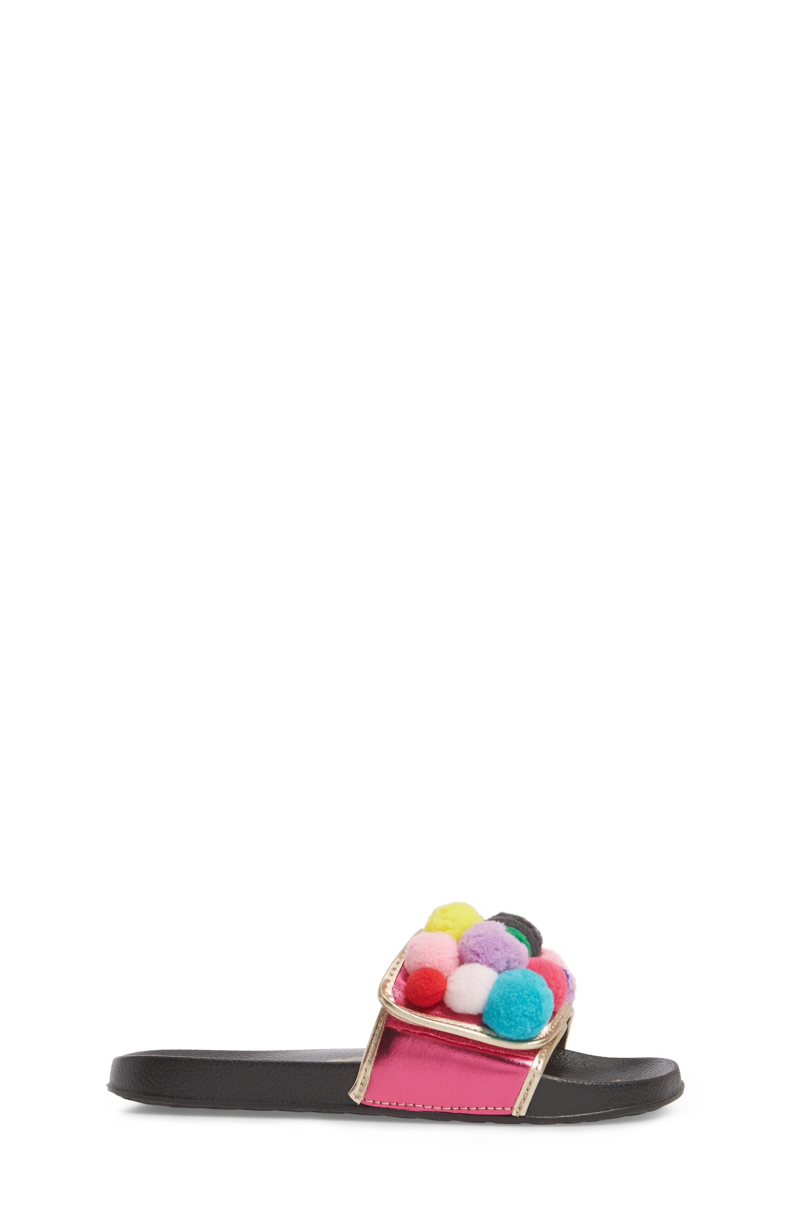 Faux Fur Mackie Cayman Sandal,                             Alternate thumbnail 3, color,                             Hot Pink Multi