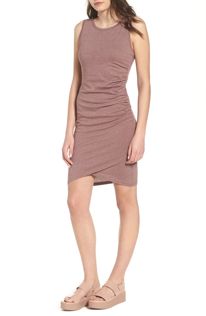 Ruched Body-Con Tank Dress,                         Main,                         color, Purple Taupe Heather