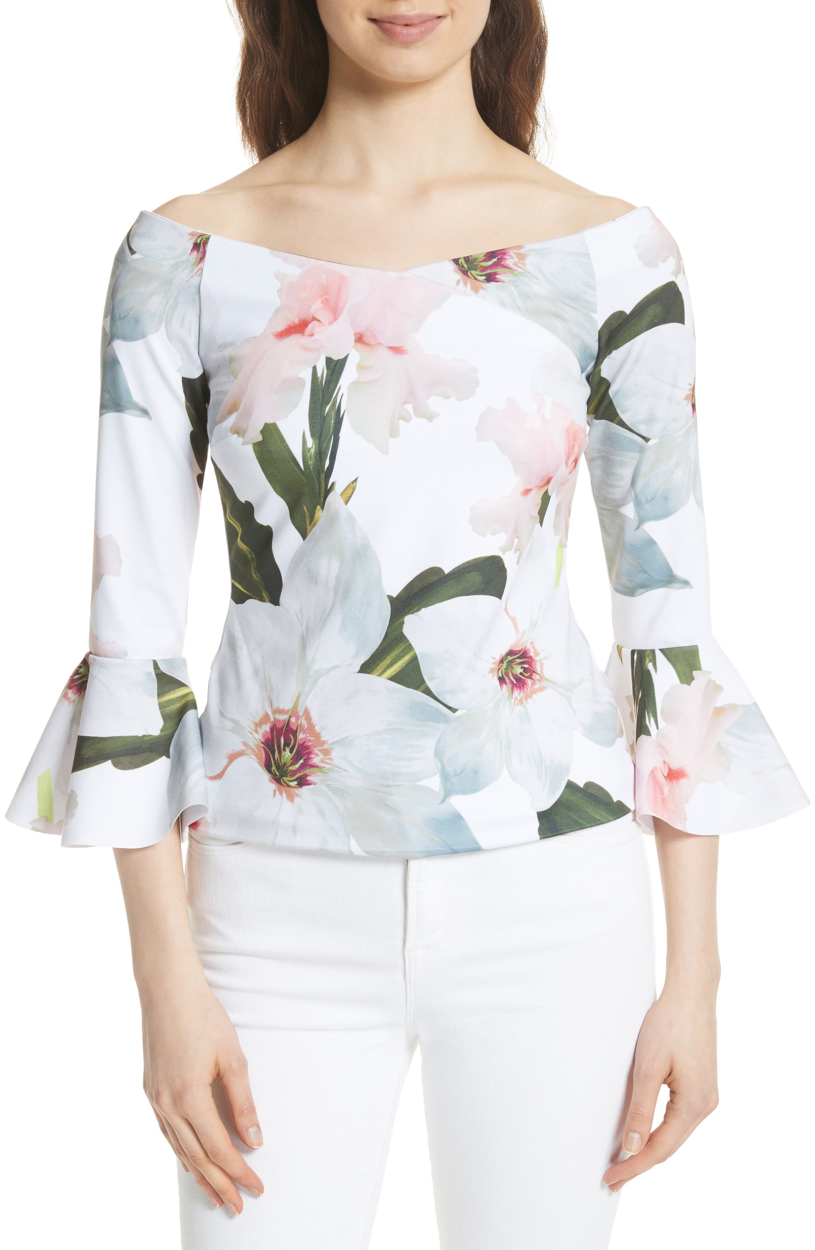 Chatsworth Bloom Top,                         Main,                         color, White
