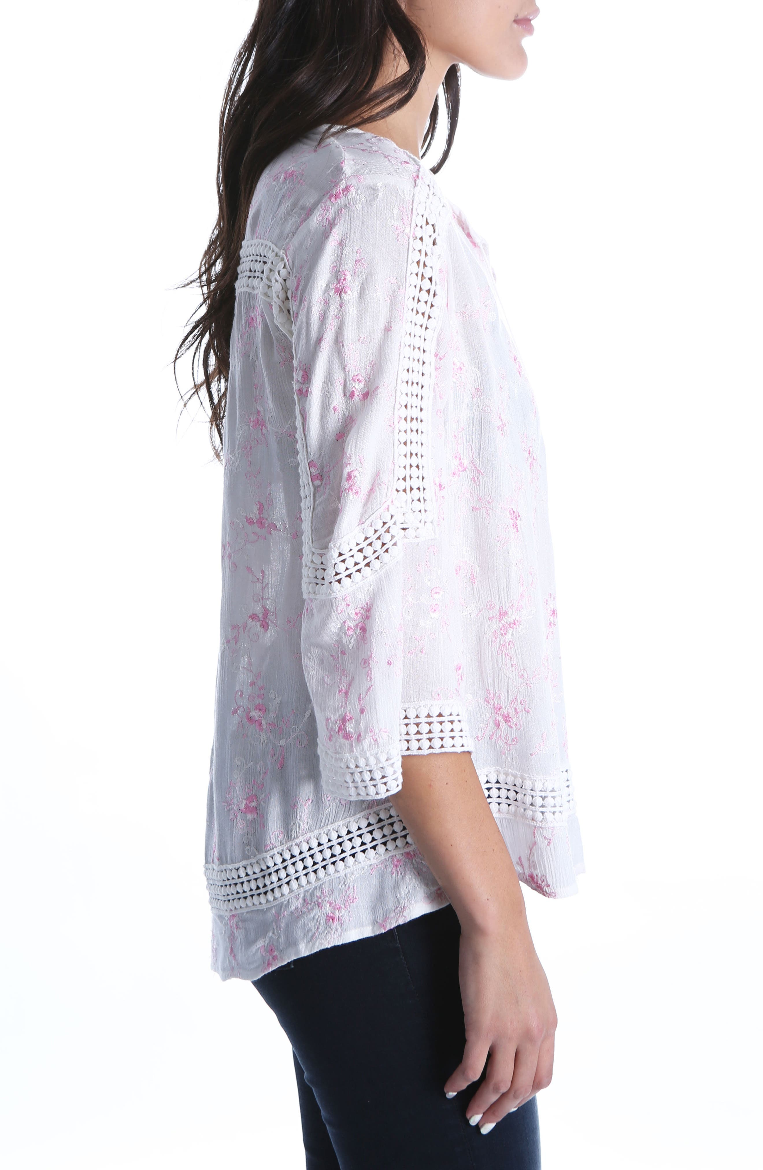 Embroidered Blouse,                             Alternate thumbnail 3, color,                             White/ Pink
