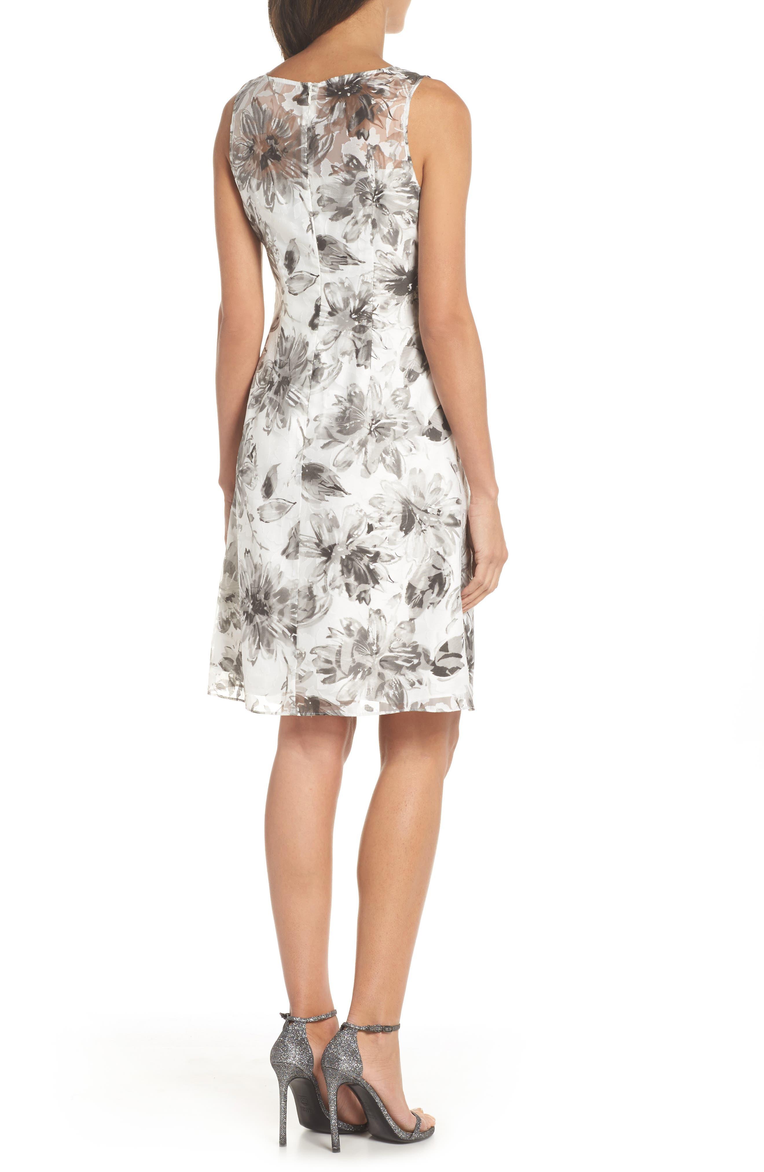 Burnout A-Line Dress,                             Alternate thumbnail 2, color,                             Black Multi