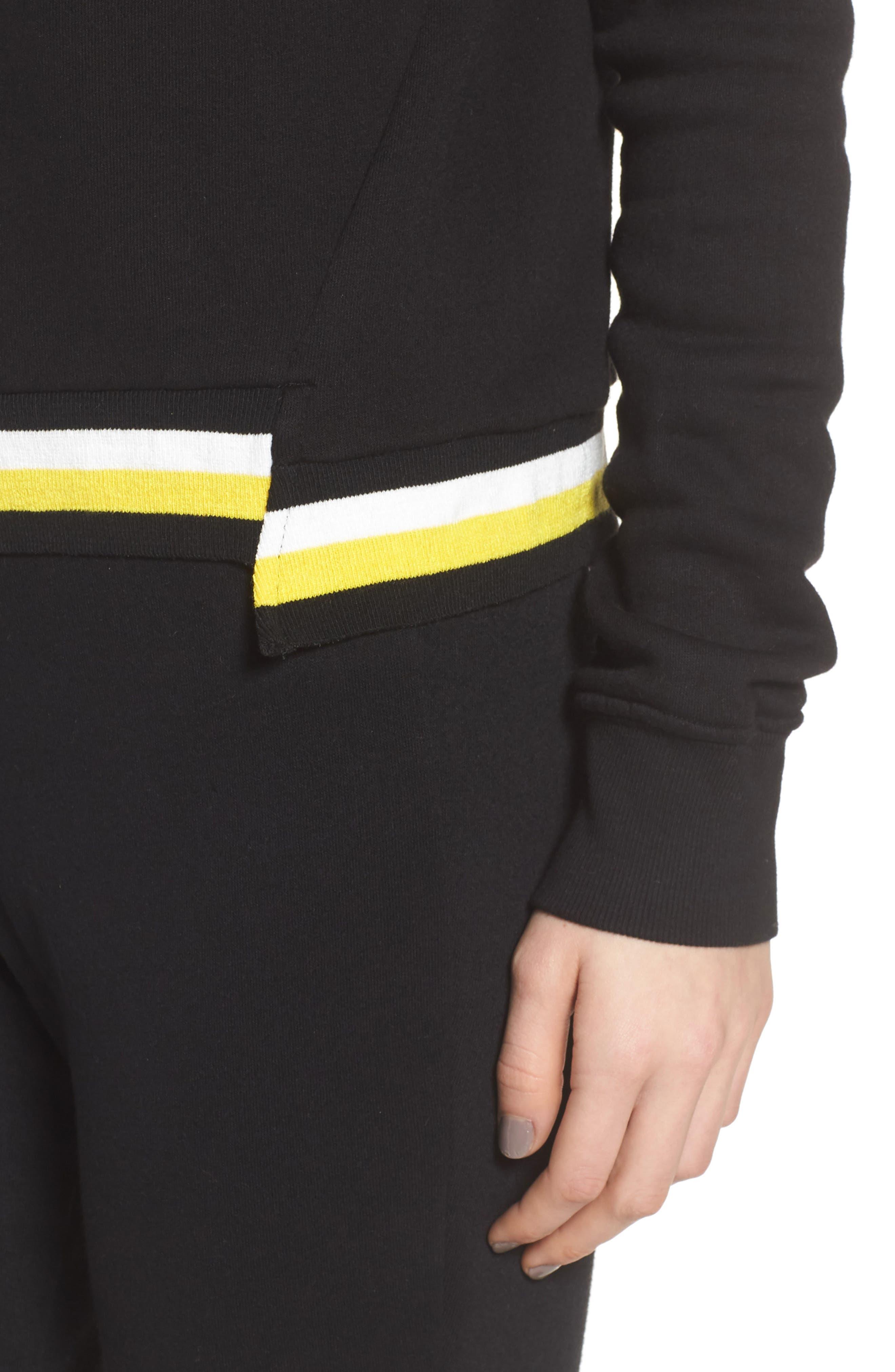 Stripe Trim Step Hem Sweatshirt,                             Alternate thumbnail 4, color,                             Black