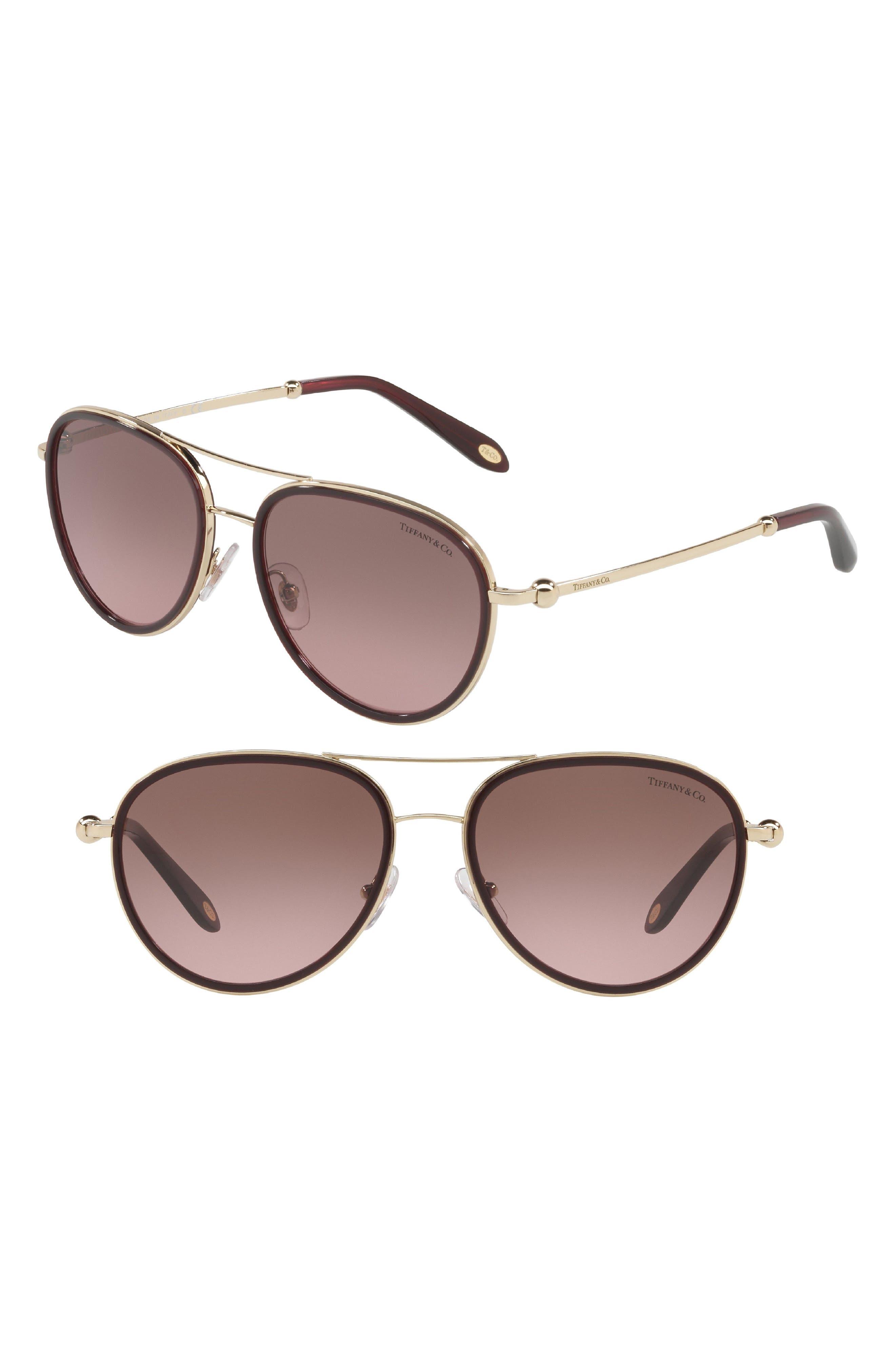 55mm Gradient Aviator Sunglasses,                         Main,                         color, Cherry Gradient