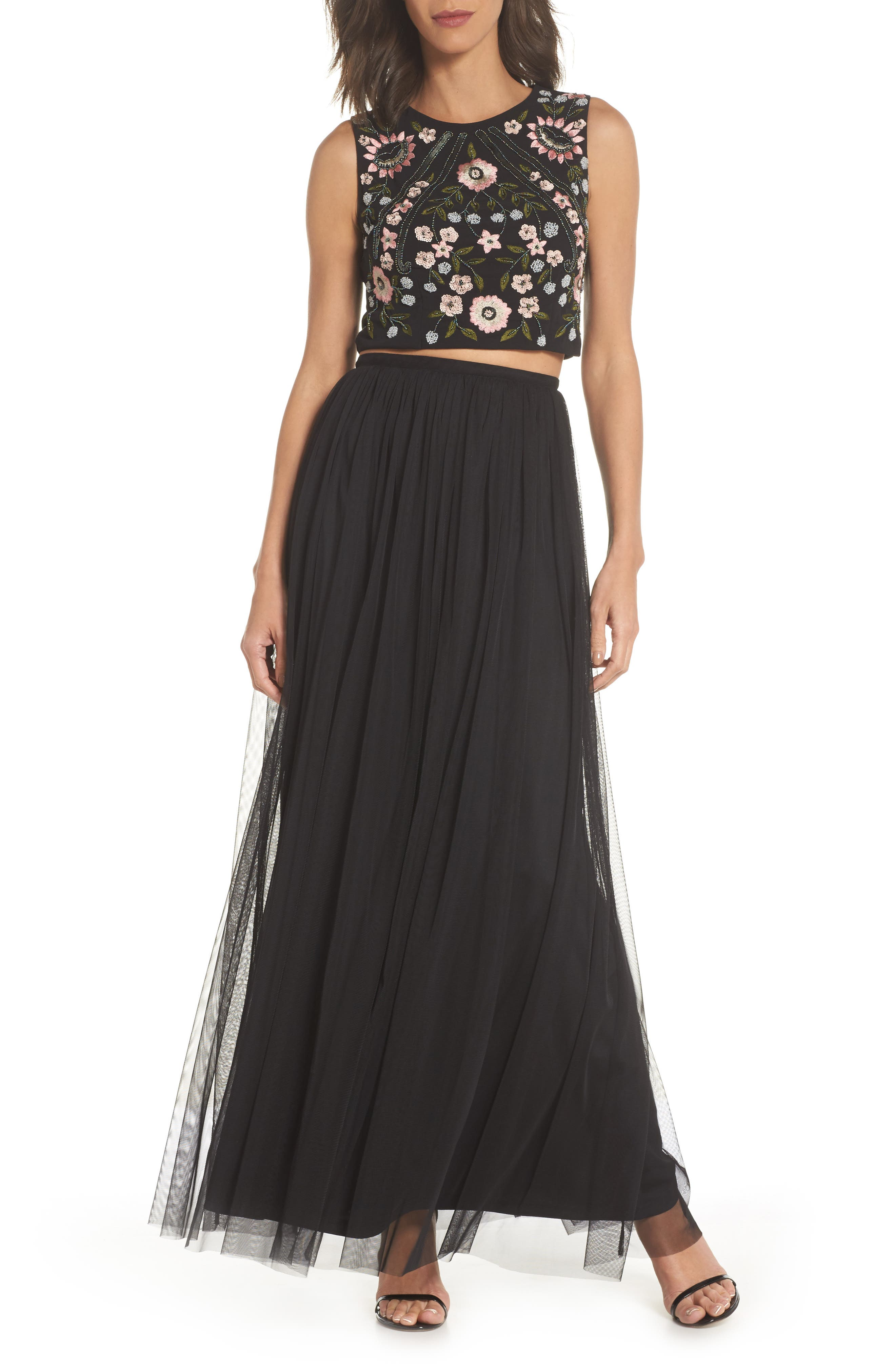 Beaded Two-Piece Gown,                         Main,                         color, Black Multi