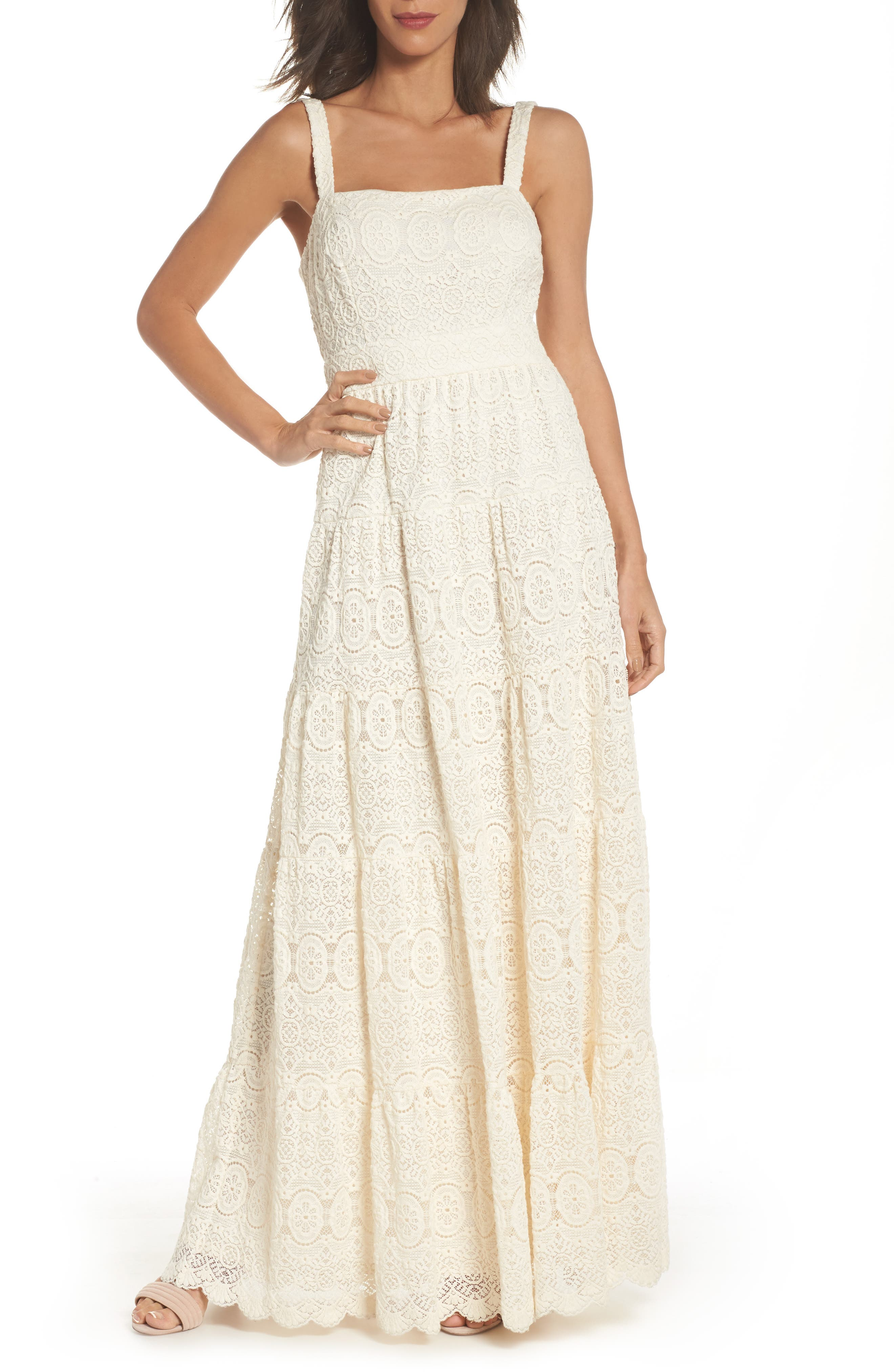 Tiered Lace Maxi Dress,                             Main thumbnail 1, color,                             Ivory