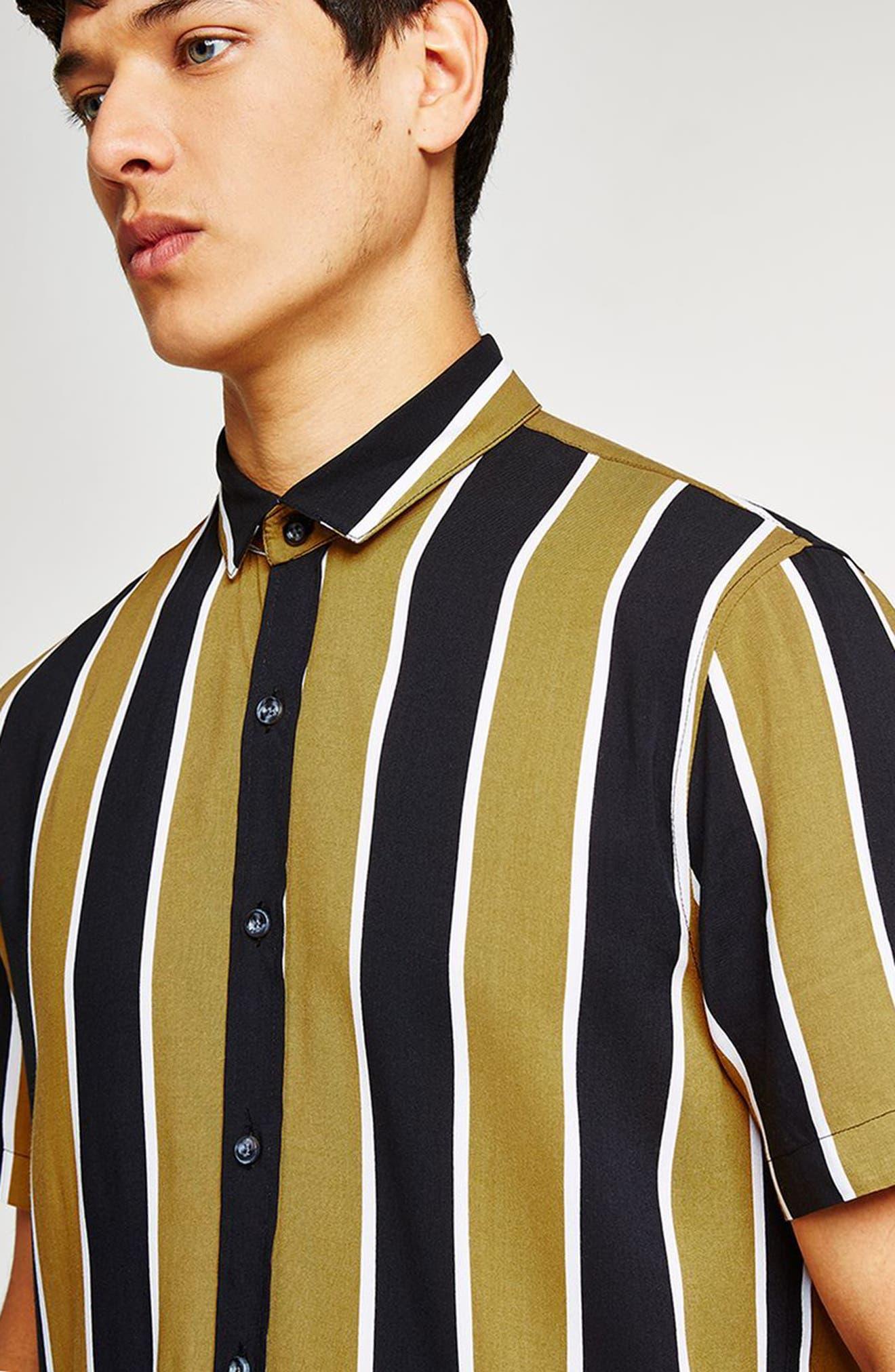 Stripe Viscose Shirt,                             Alternate thumbnail 3, color,                             Mustard Multi