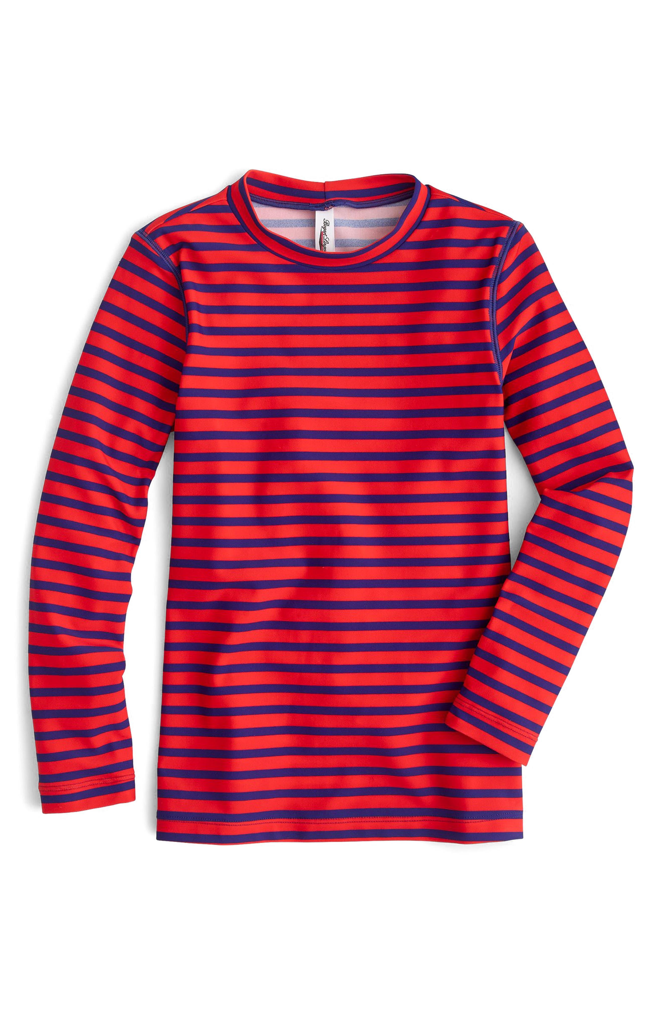 Stripe Long Sleeve Rashguard,                             Main thumbnail 1, color,                             Indigo Flame