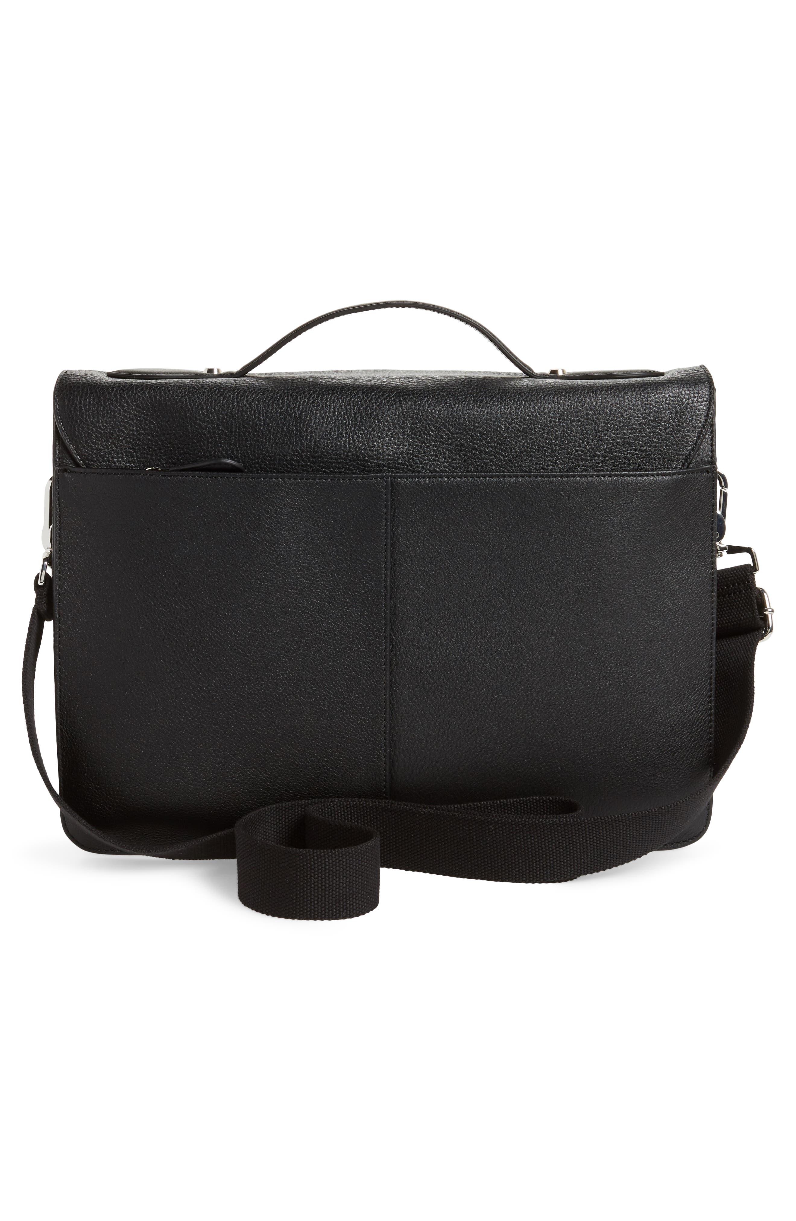 Munch Leather Satchel Briefcase,                             Alternate thumbnail 3, color,                             Black