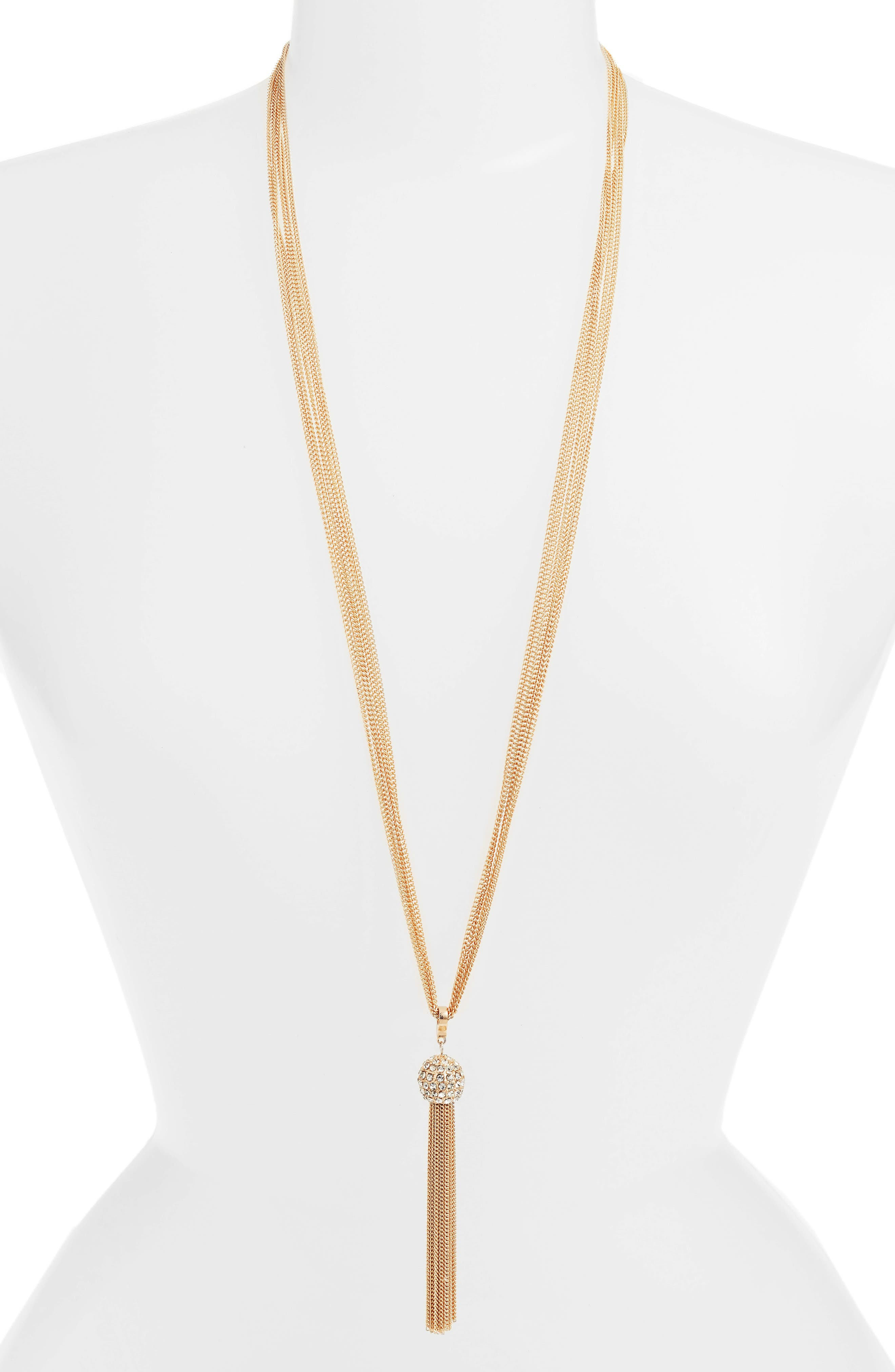 Chain Tassel Y-Necklace,                             Main thumbnail 1, color,                             Gold/Crystal