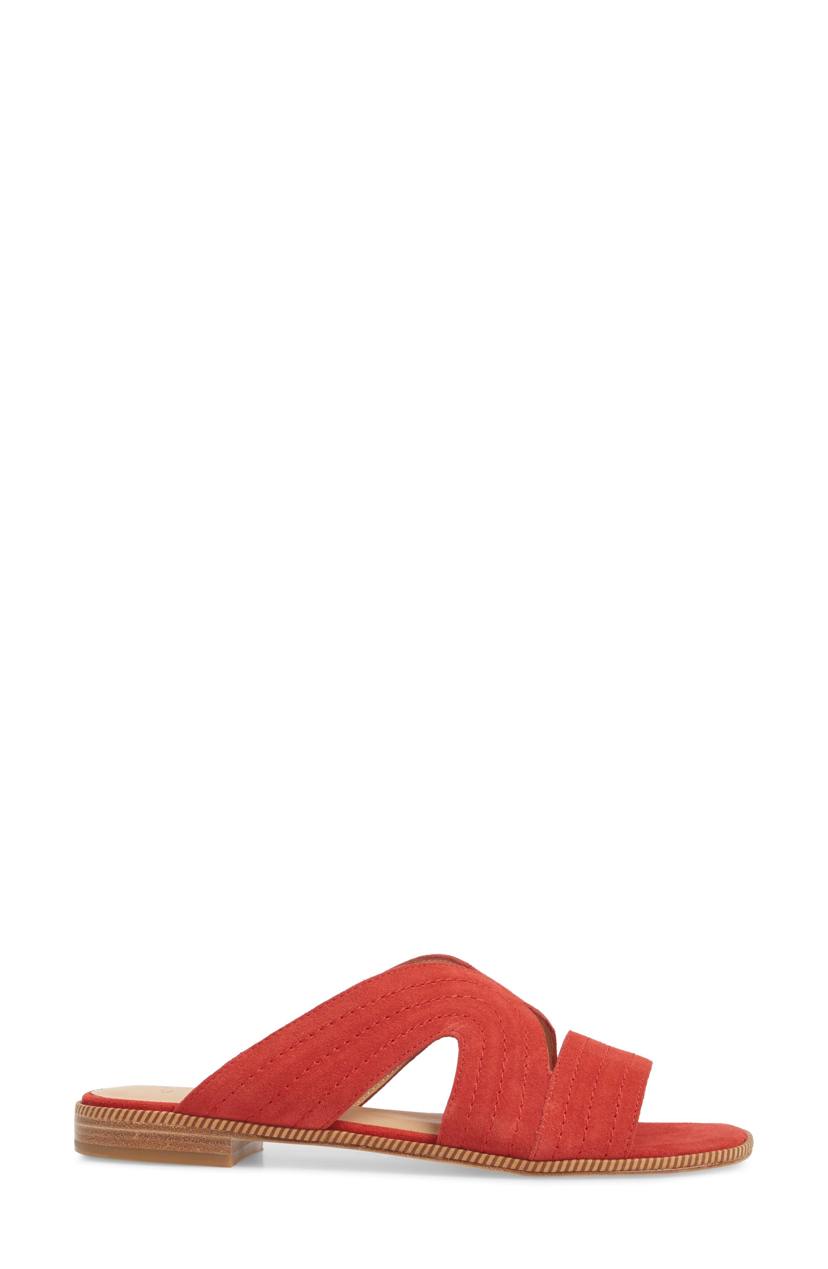 Paetyn Slide Sandal,                             Alternate thumbnail 3, color,                             Red