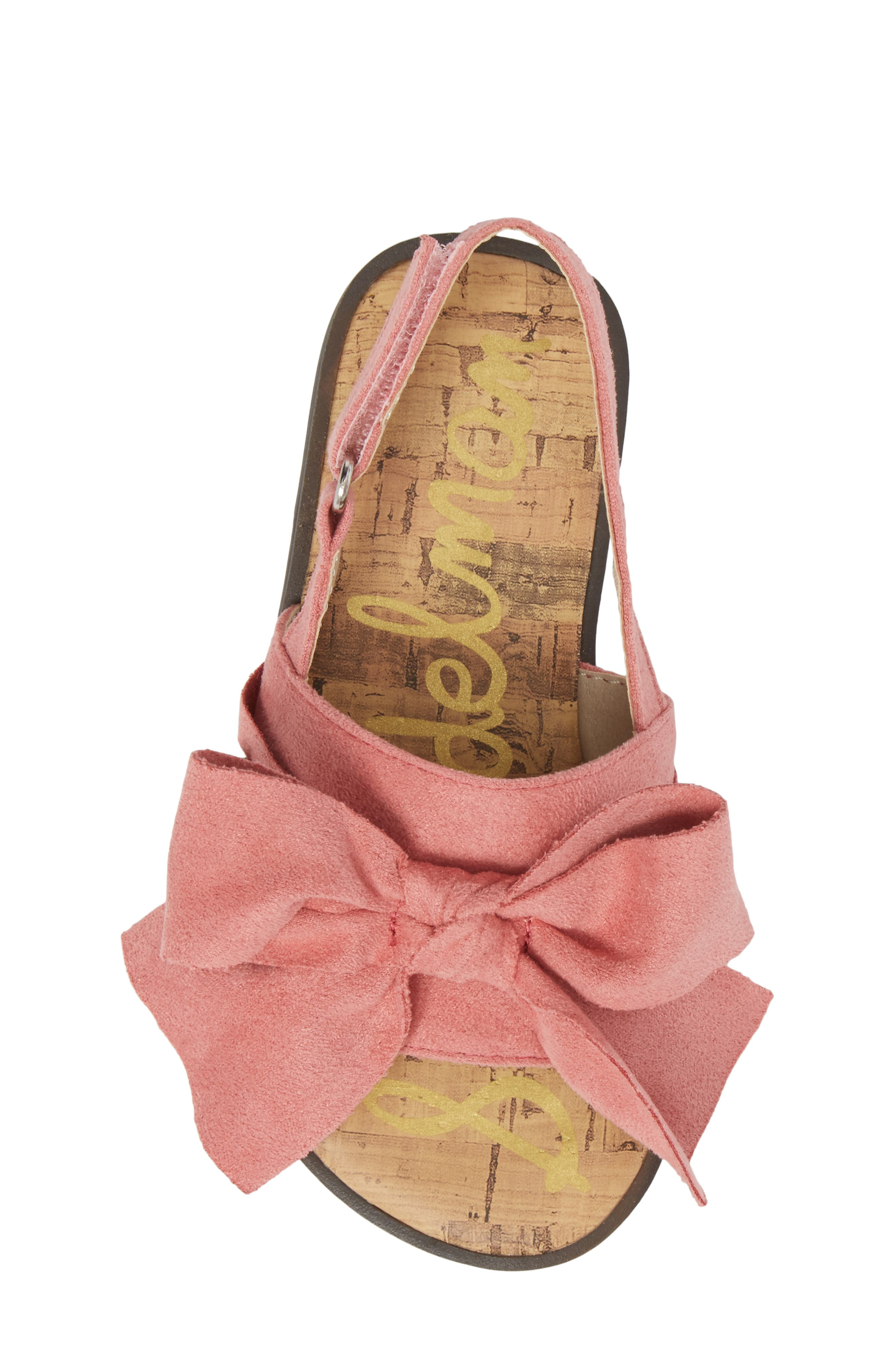 Gigi Bow Sandal,                             Alternate thumbnail 5, color,                             Pink Faux Suede
