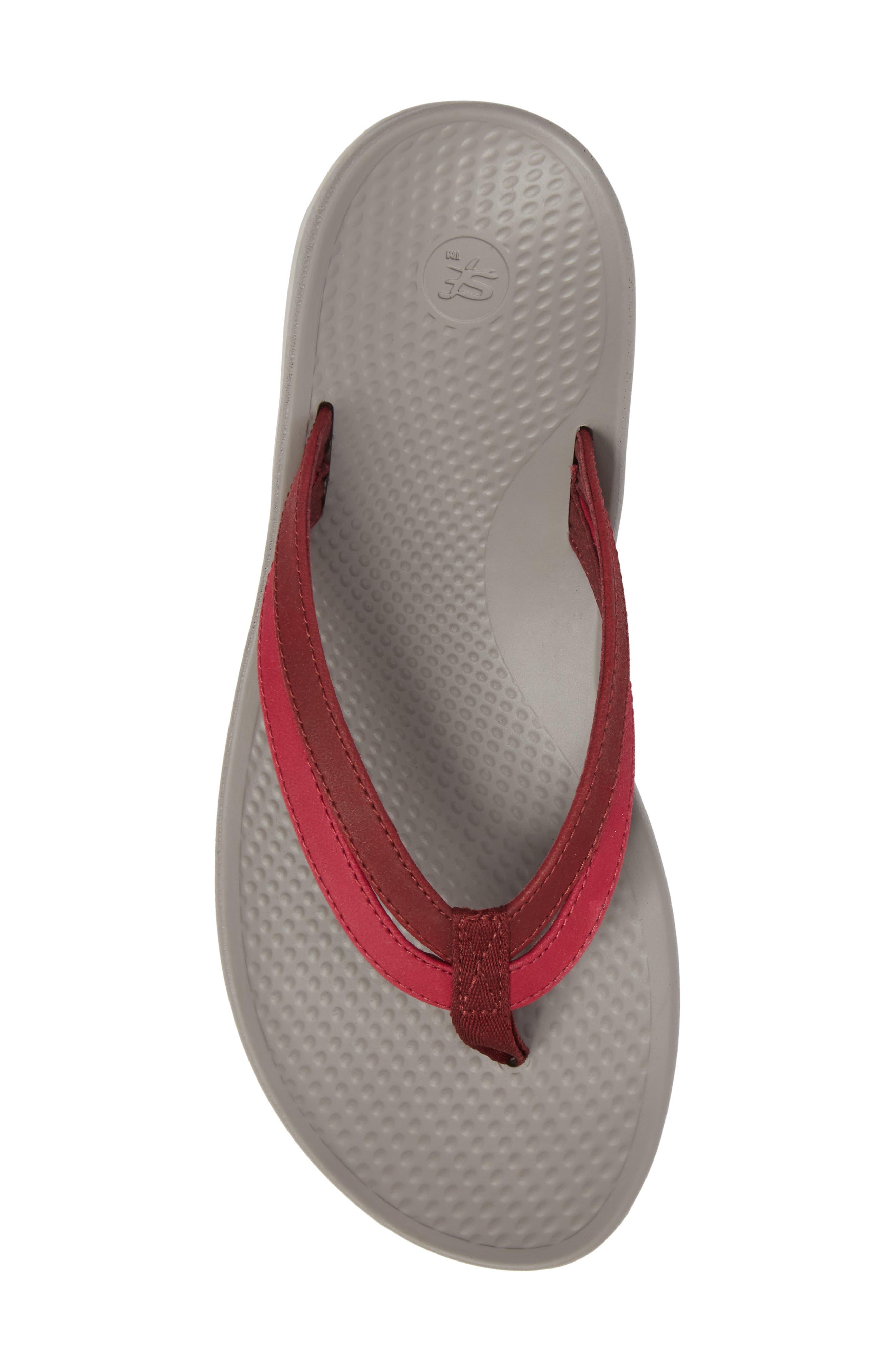Rose Flip Flop,                             Alternate thumbnail 5, color,                             Red Faux Leather