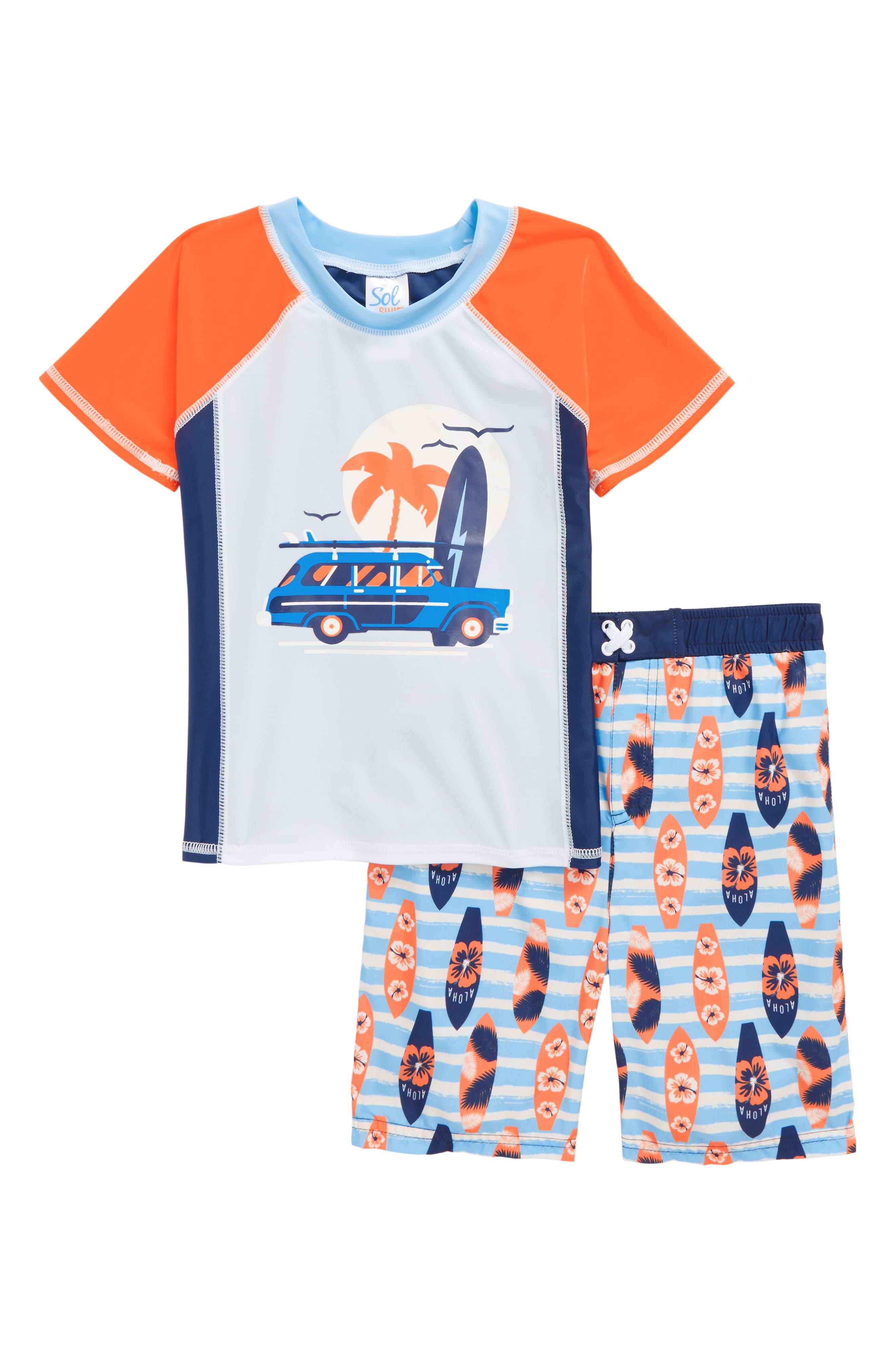 Sol Swim Surf Shop Two-Piece Rashguard Swimsuit (Toddler Boys & Little Boys)