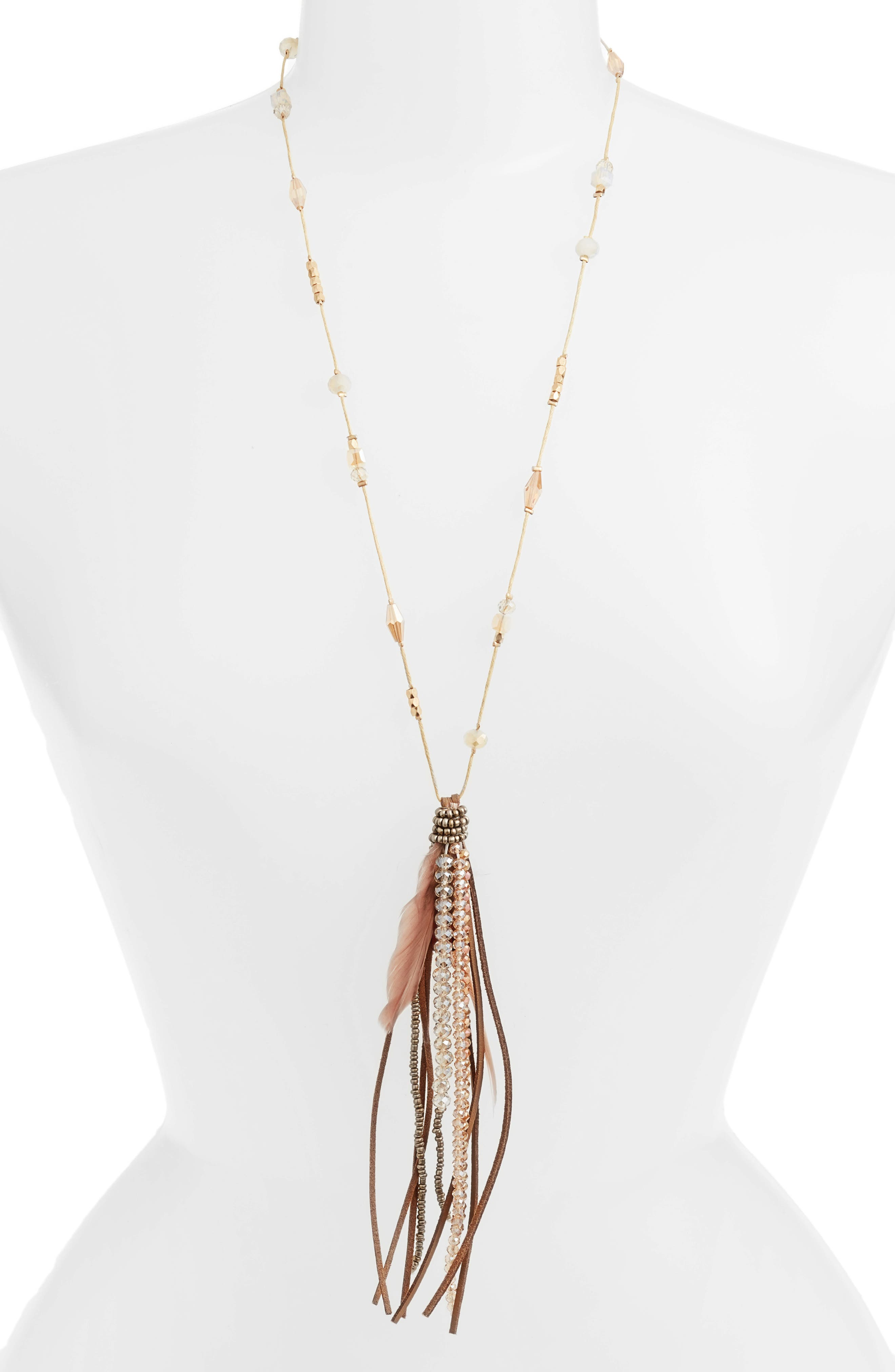 Beaded Feather Necklace,                         Main,                         color, Brown
