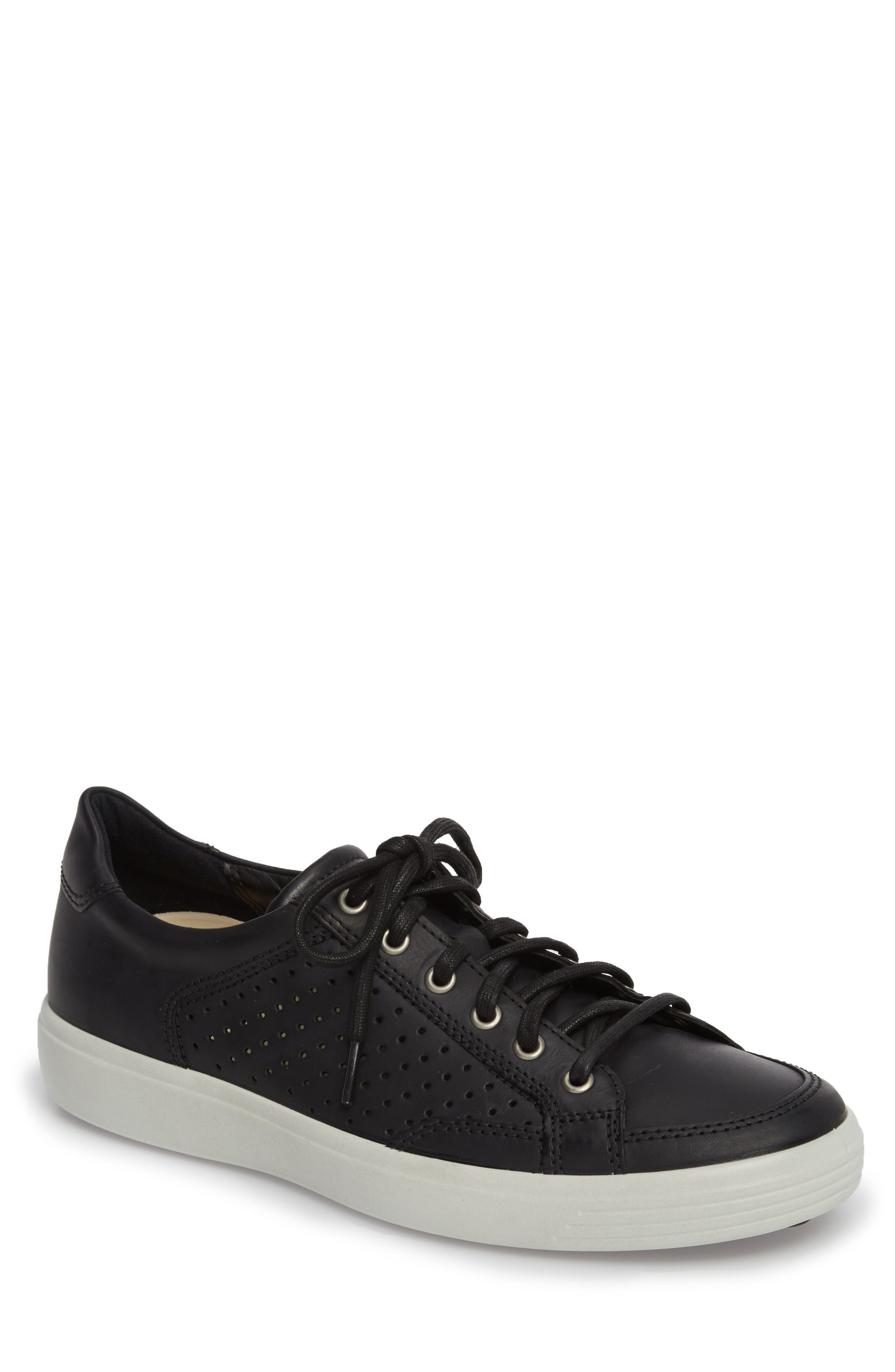 Soft 7 Retro Perforated Low Top Sneaker,                             Main thumbnail 1, color,                             Black Leather