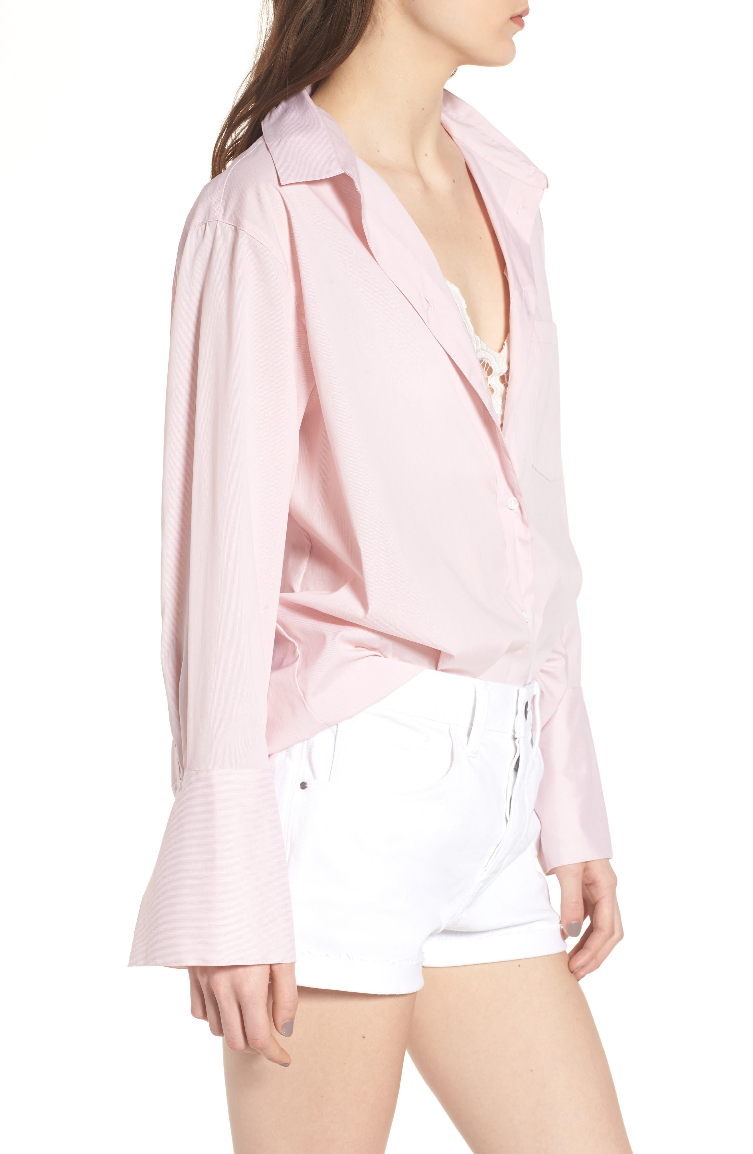 Loose Sleeve Poplin Tunic Shirt,                             Alternate thumbnail 4, color,                             Pink Silver Micro Stripe