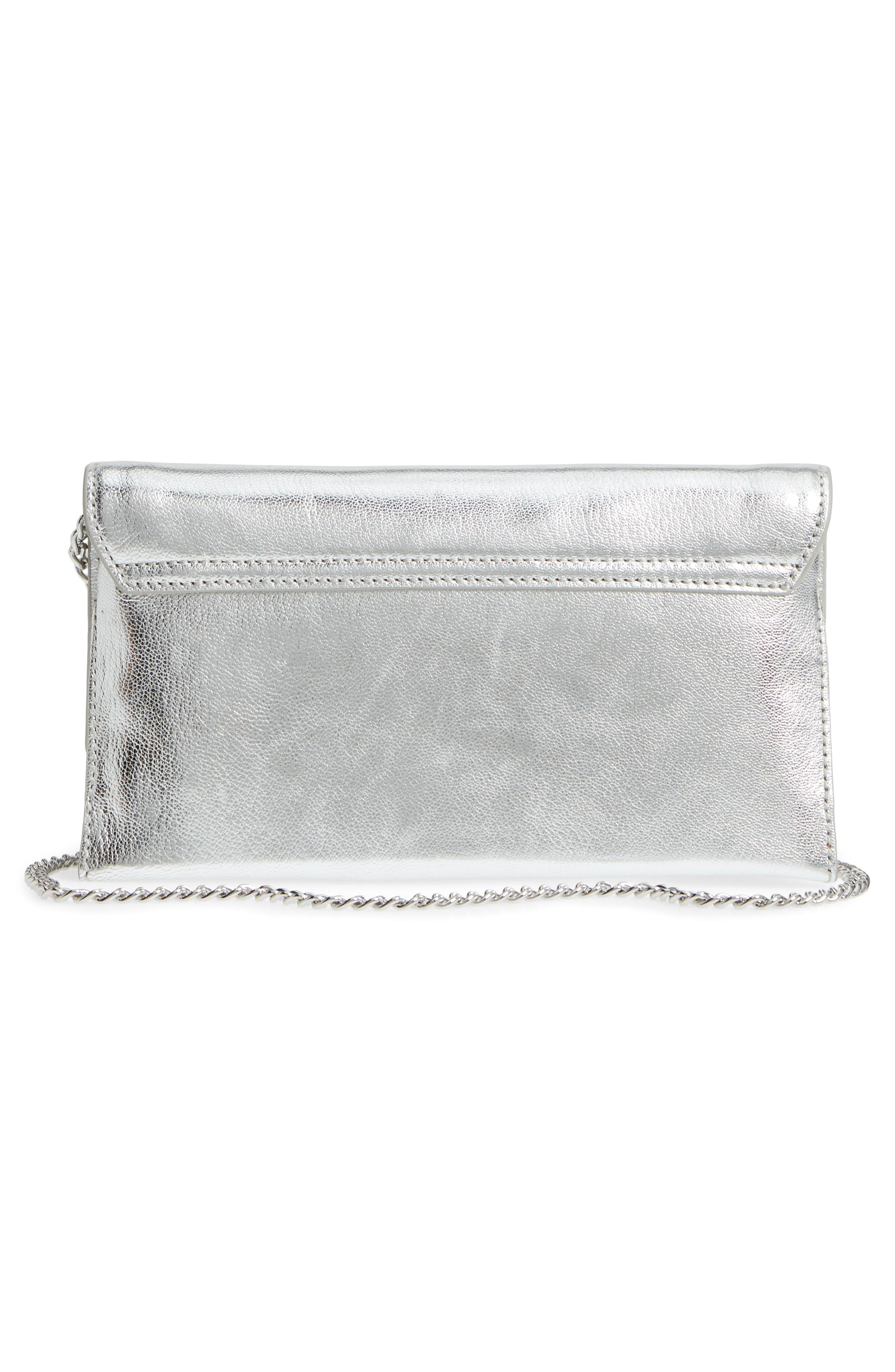 Leather Tab Clutch,                             Alternate thumbnail 3, color,                             Silver