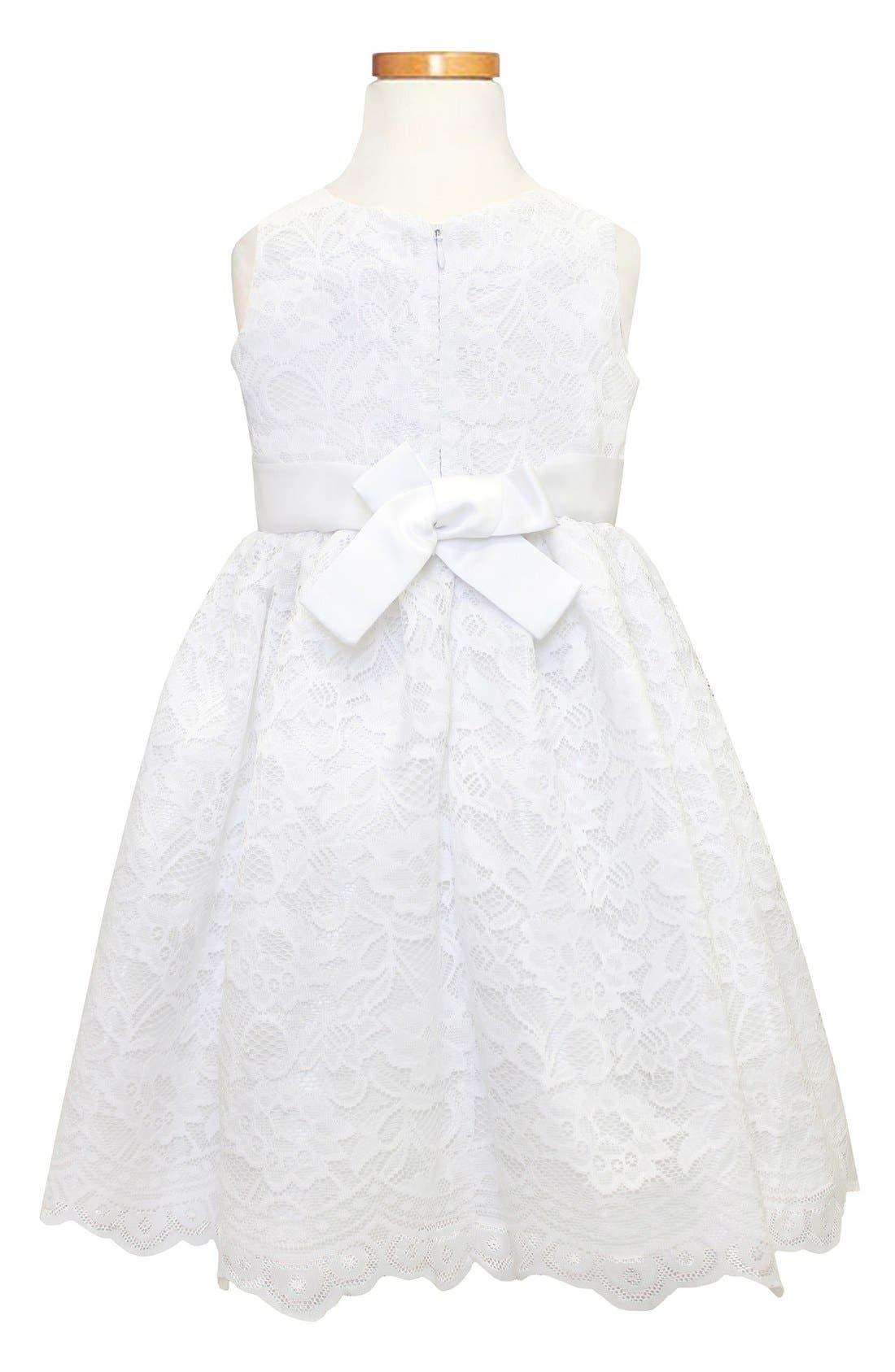 Scallop Lace Dress,                             Alternate thumbnail 3, color,                             White