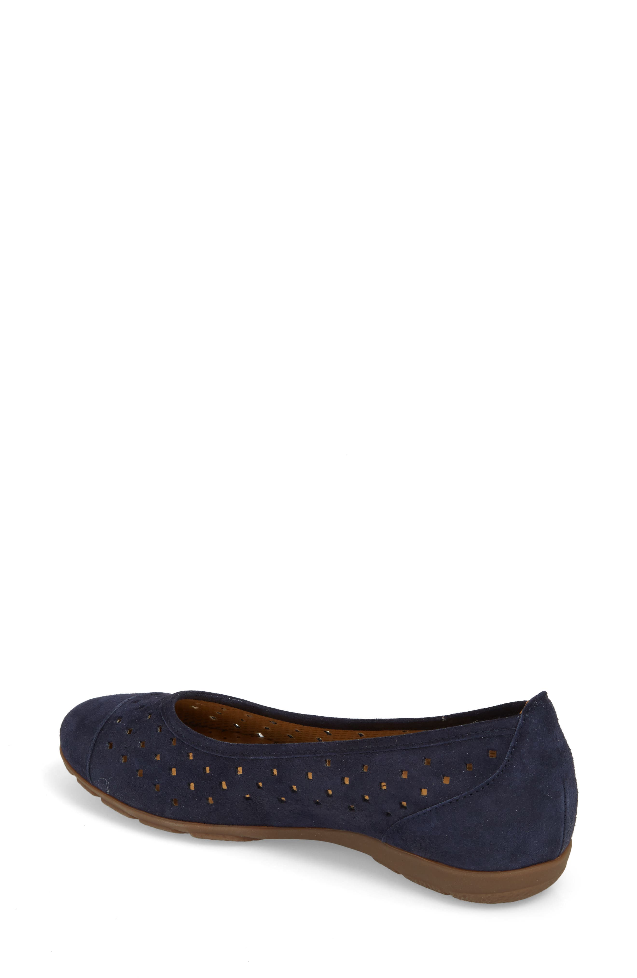 Perforated Ballet Flat,                             Alternate thumbnail 2, color,                             Blue Metallic Leather