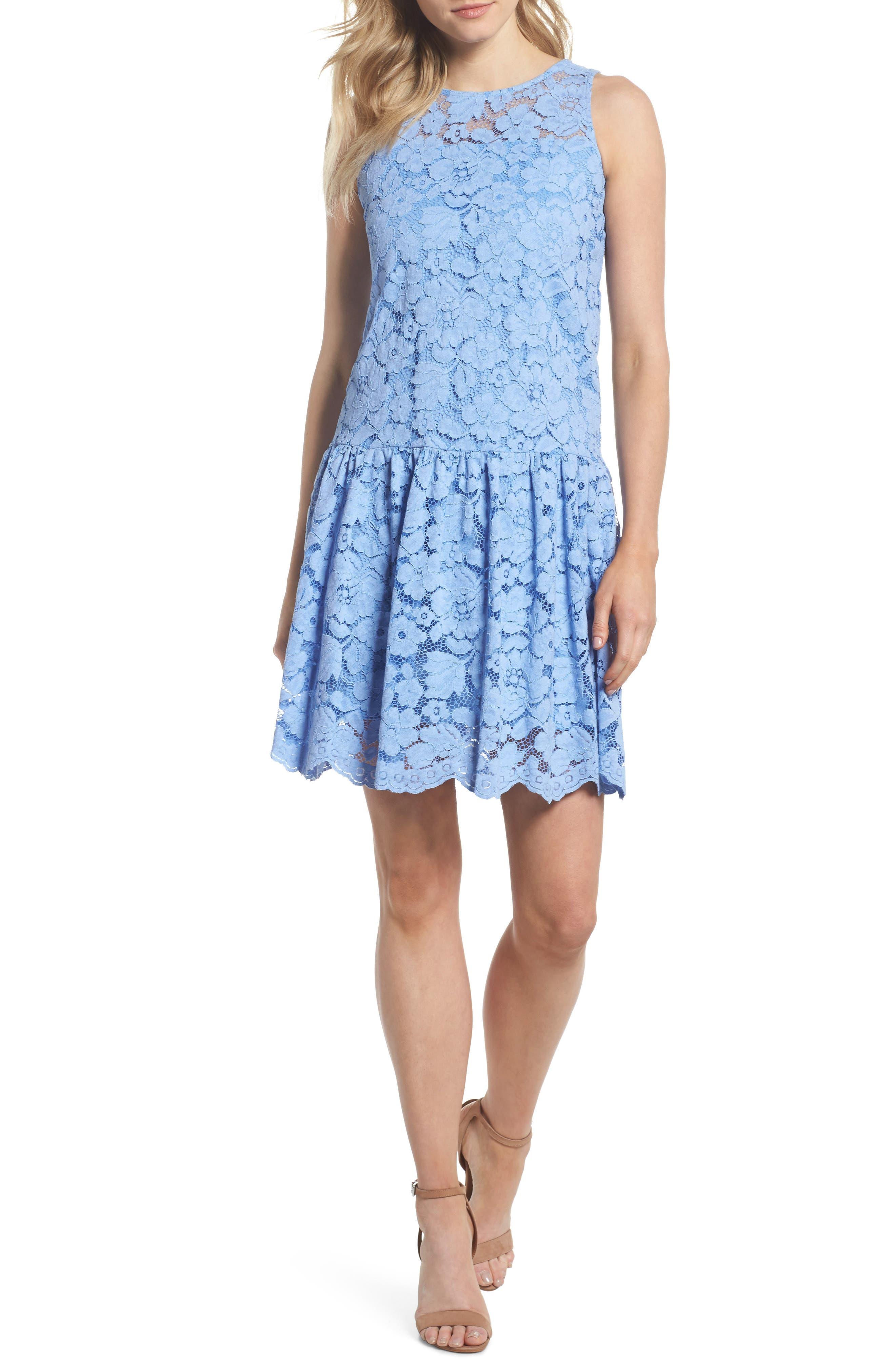 Lace Drop Waist Dress,                             Main thumbnail 1, color,                             Cornflower