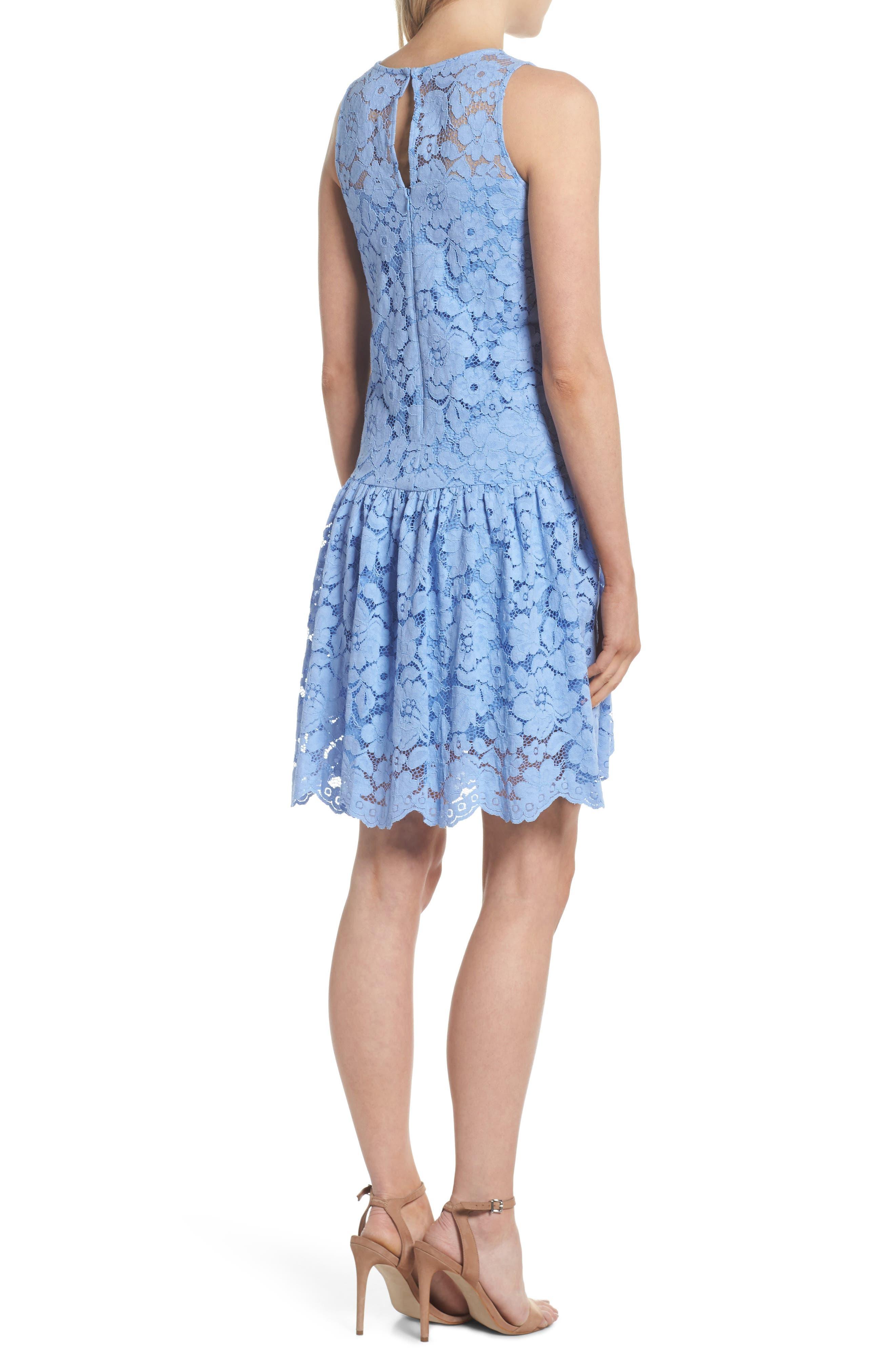 Lace Drop Waist Dress,                             Alternate thumbnail 2, color,                             Cornflower