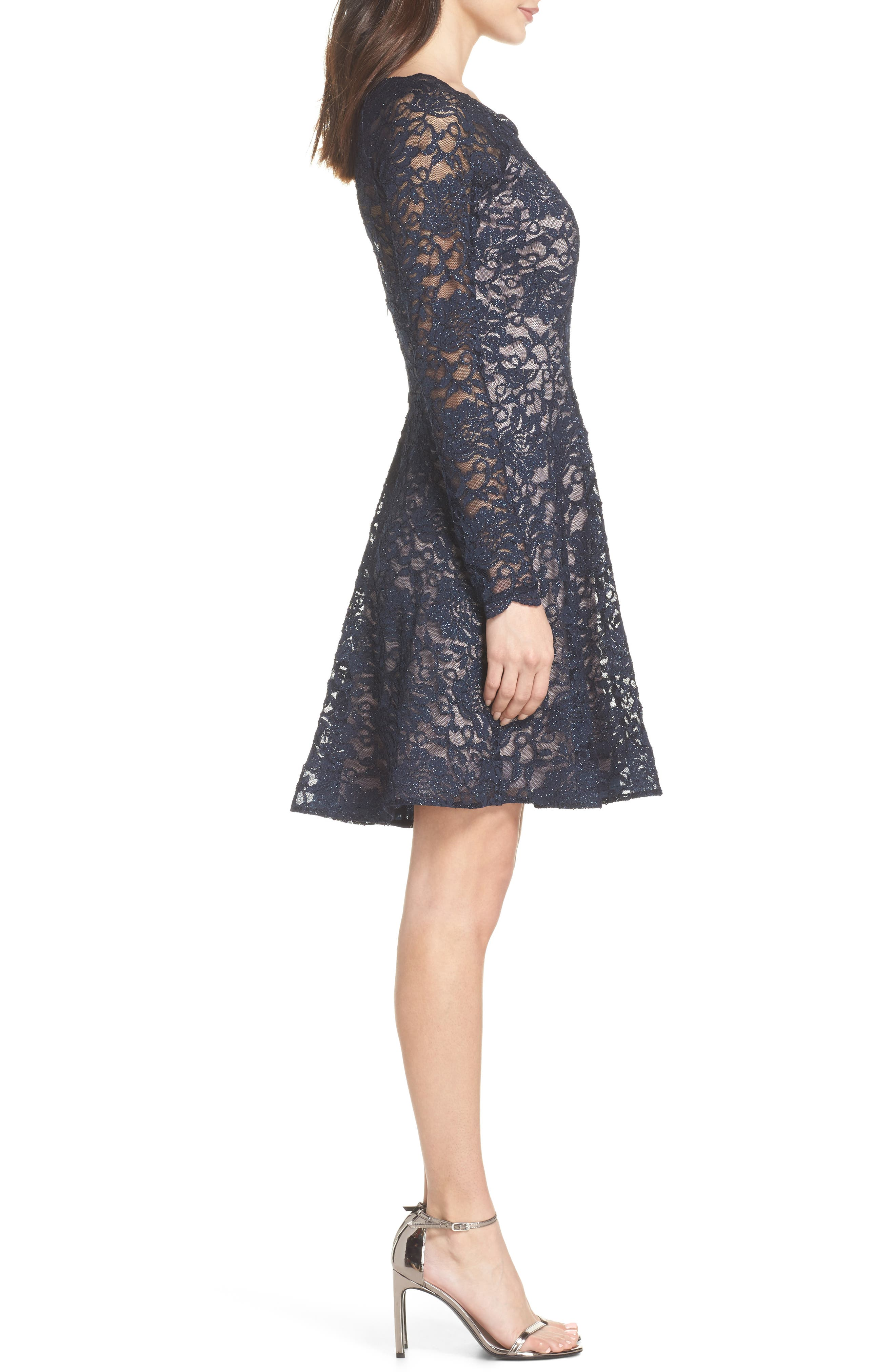 Glitter Lace Fit & Flare Dress,                             Alternate thumbnail 3, color,                             Navy/ Mauve