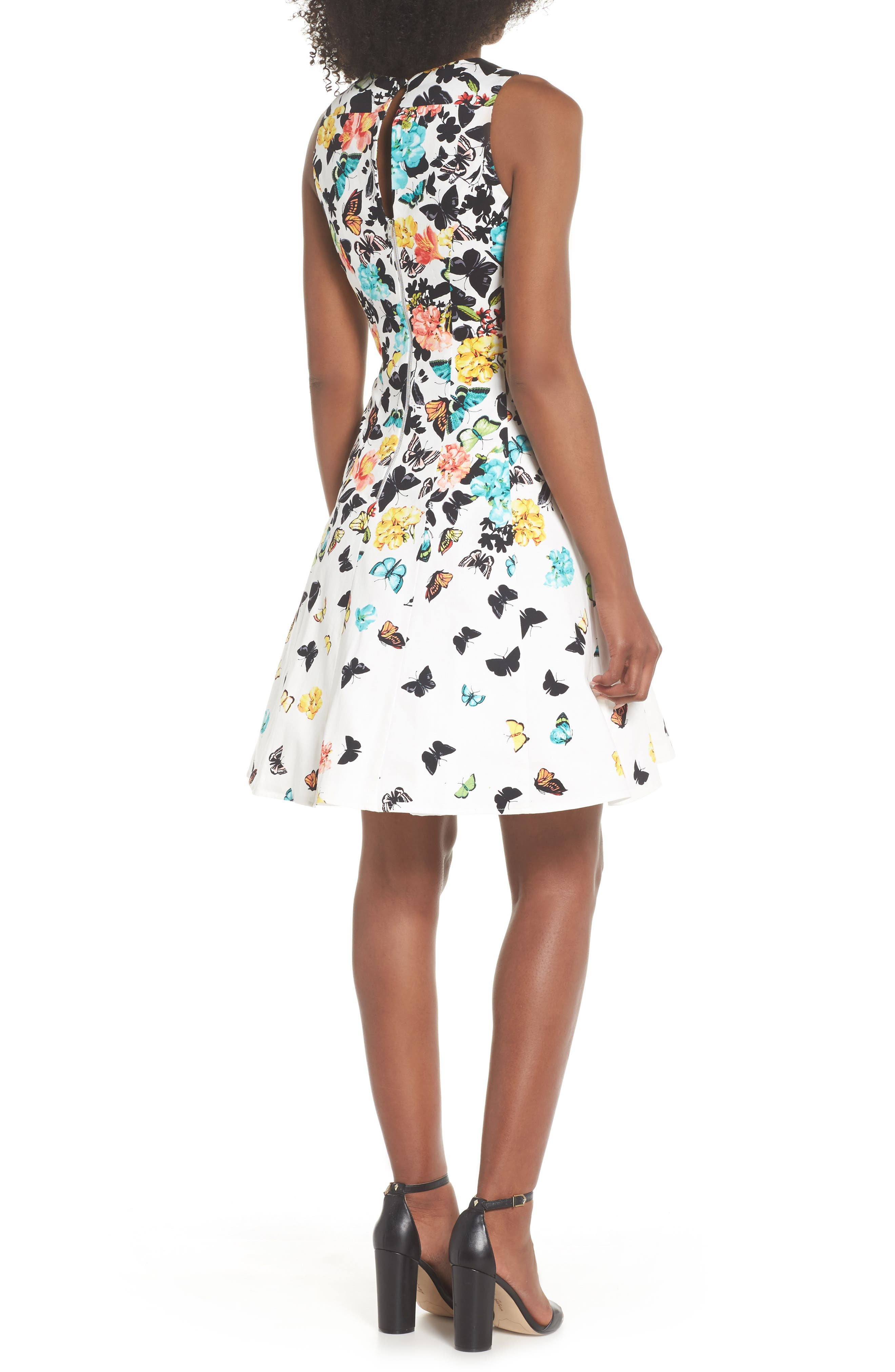 Printed Fit & Flare Dress,                             Alternate thumbnail 2, color,                             Soft White Multi