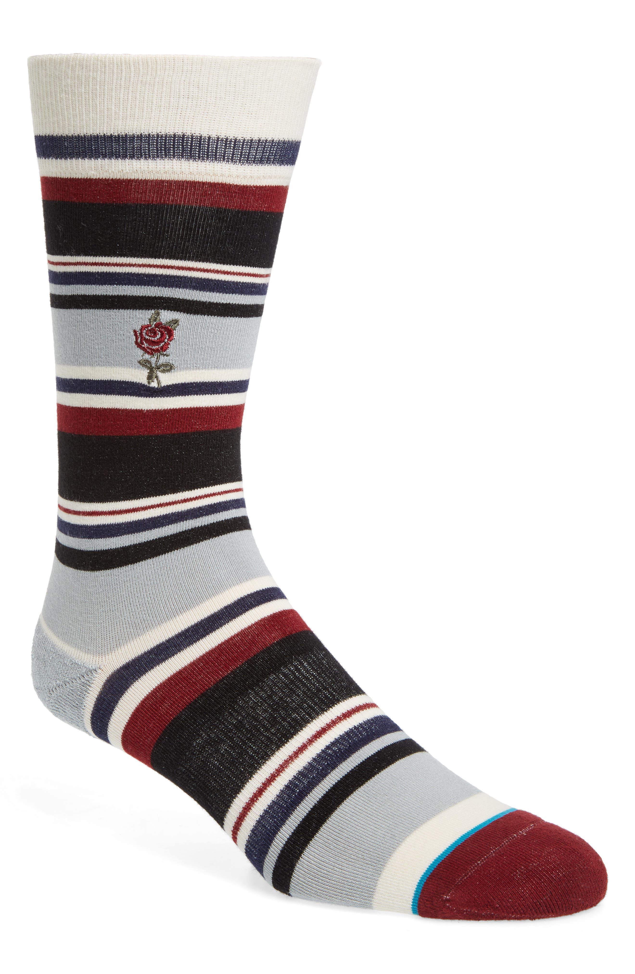 Eldridge Socks,                             Main thumbnail 1, color,                             Black/ Red Multi