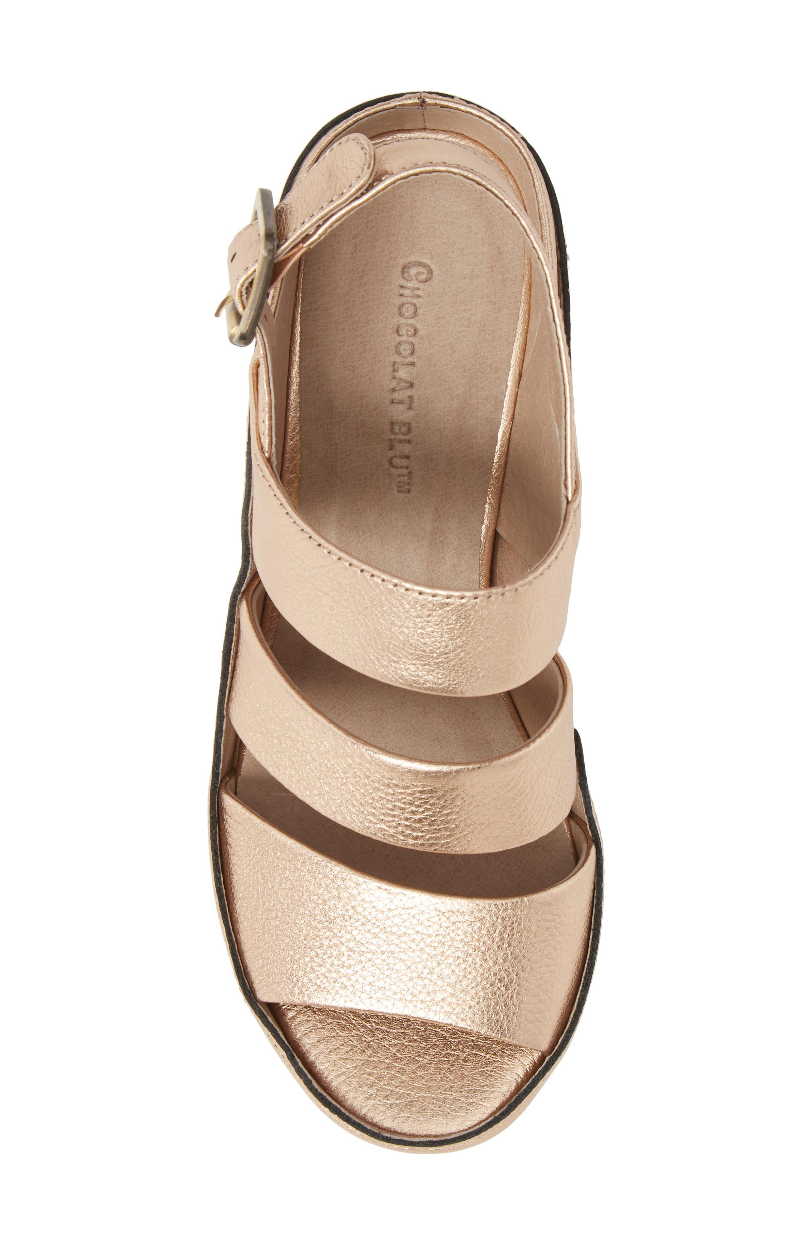 Windsor Platform Wedge Sandal,                             Alternate thumbnail 5, color,                             Rose Gold Leather