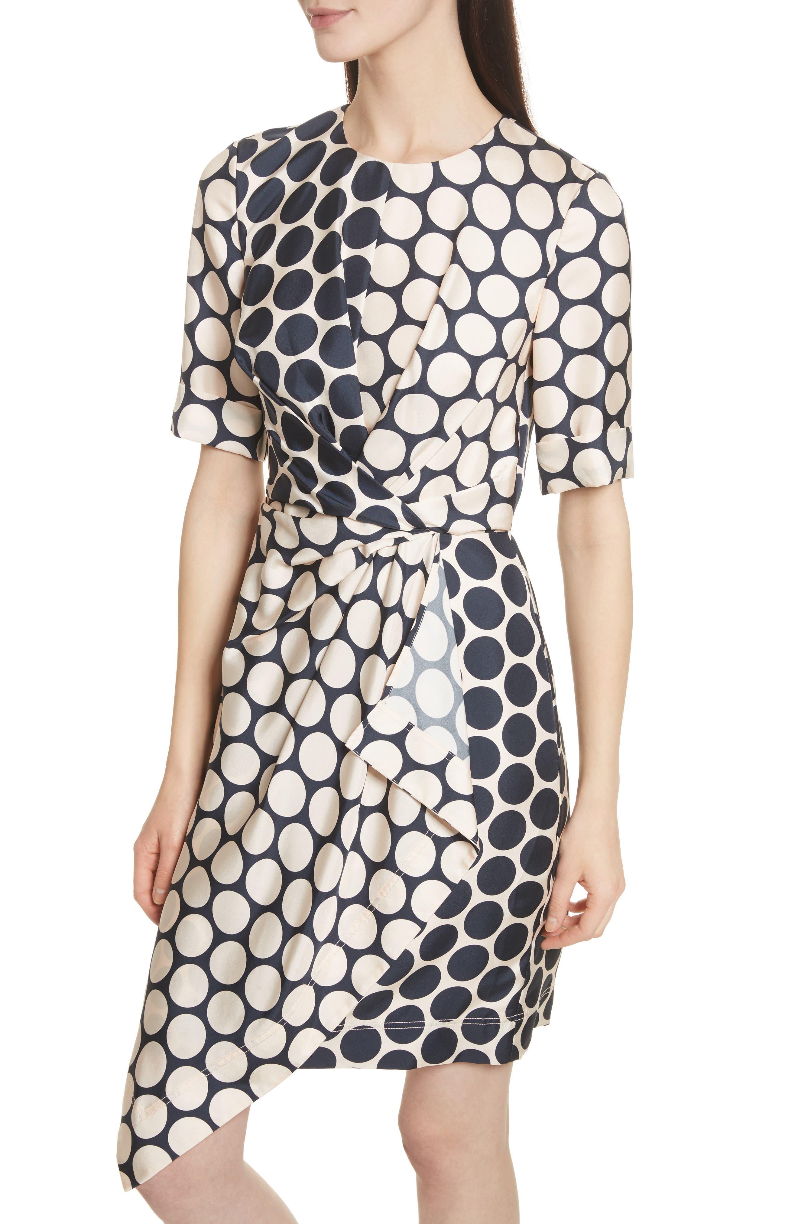 Polka Dot Silk Dress,                             Alternate thumbnail 4, color,                             Shell Combo