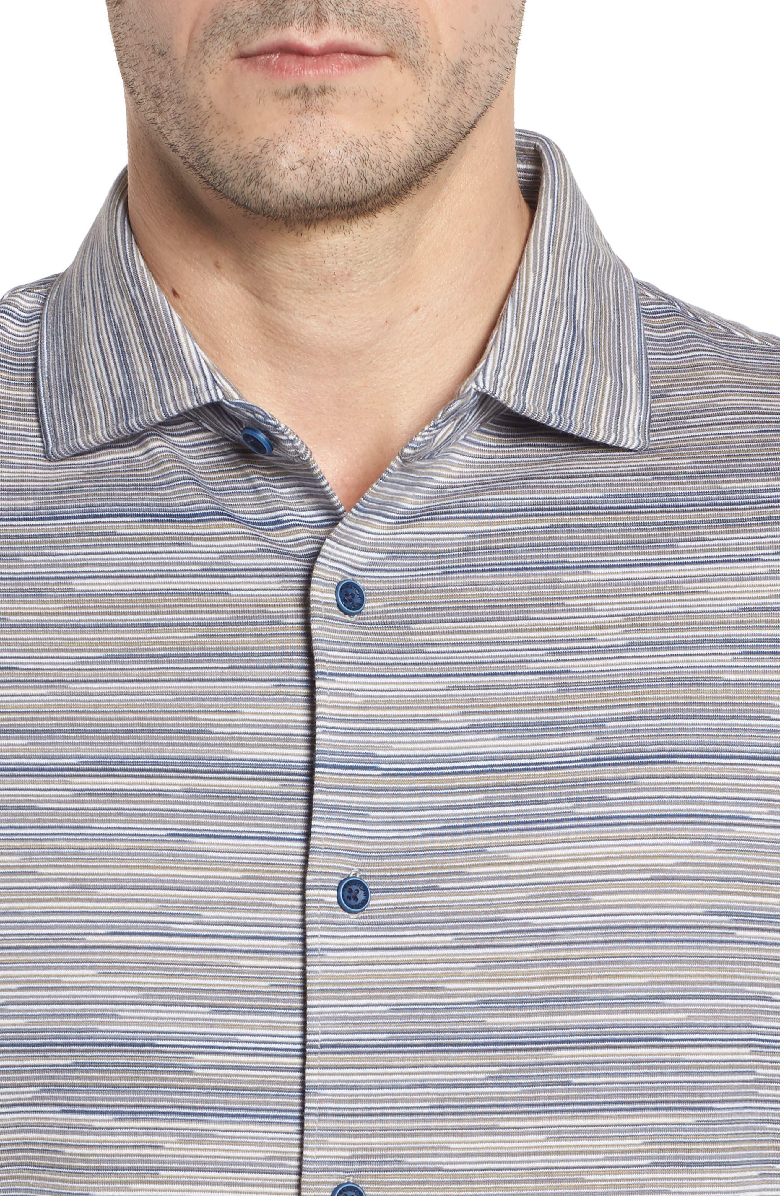 Regular Fit Striated Knit Sport Shirt,                             Alternate thumbnail 4, color,                             Sand