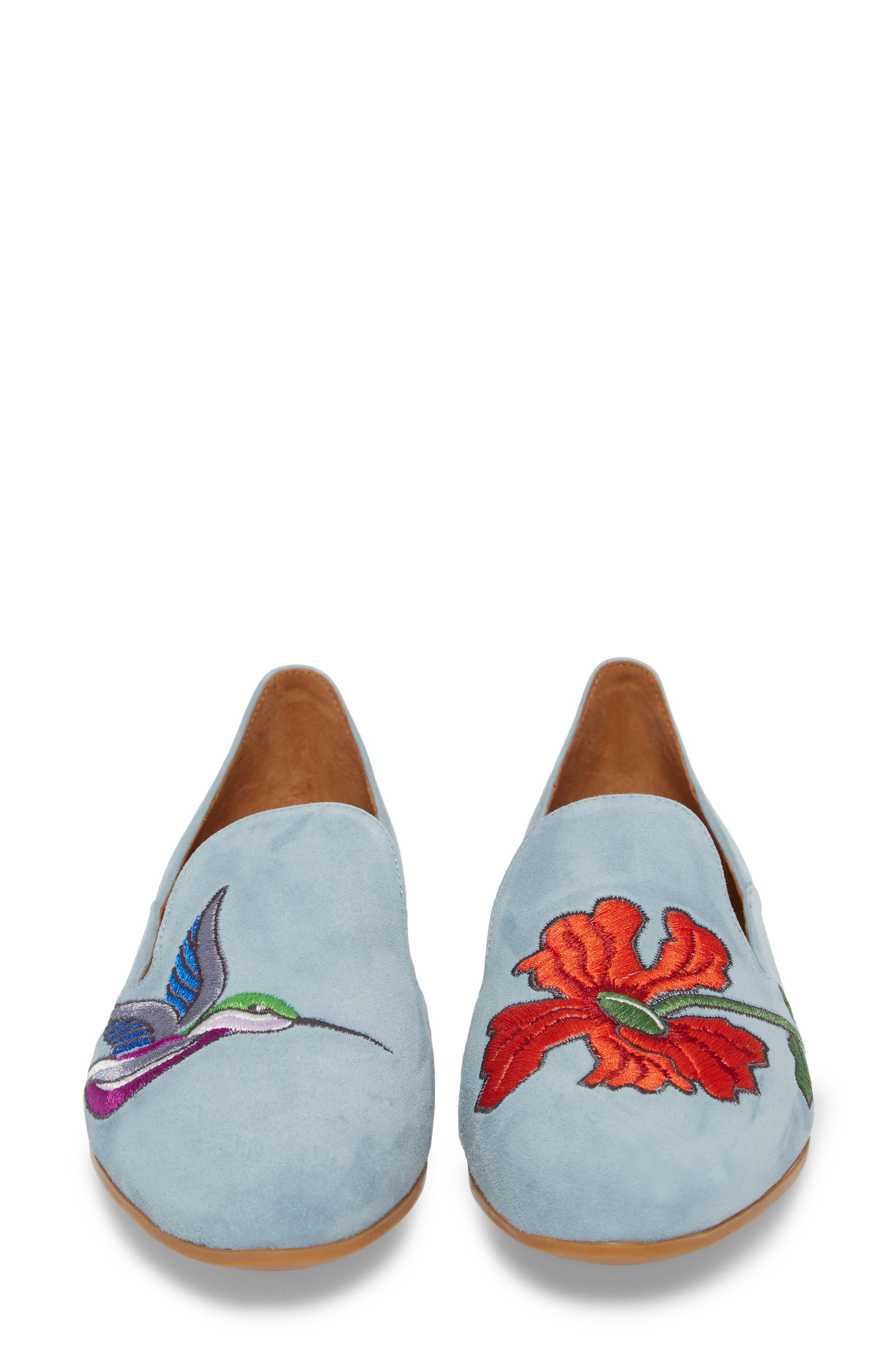 Emmaline Embroidered Loafer,                             Alternate thumbnail 5, color,                             Chambray