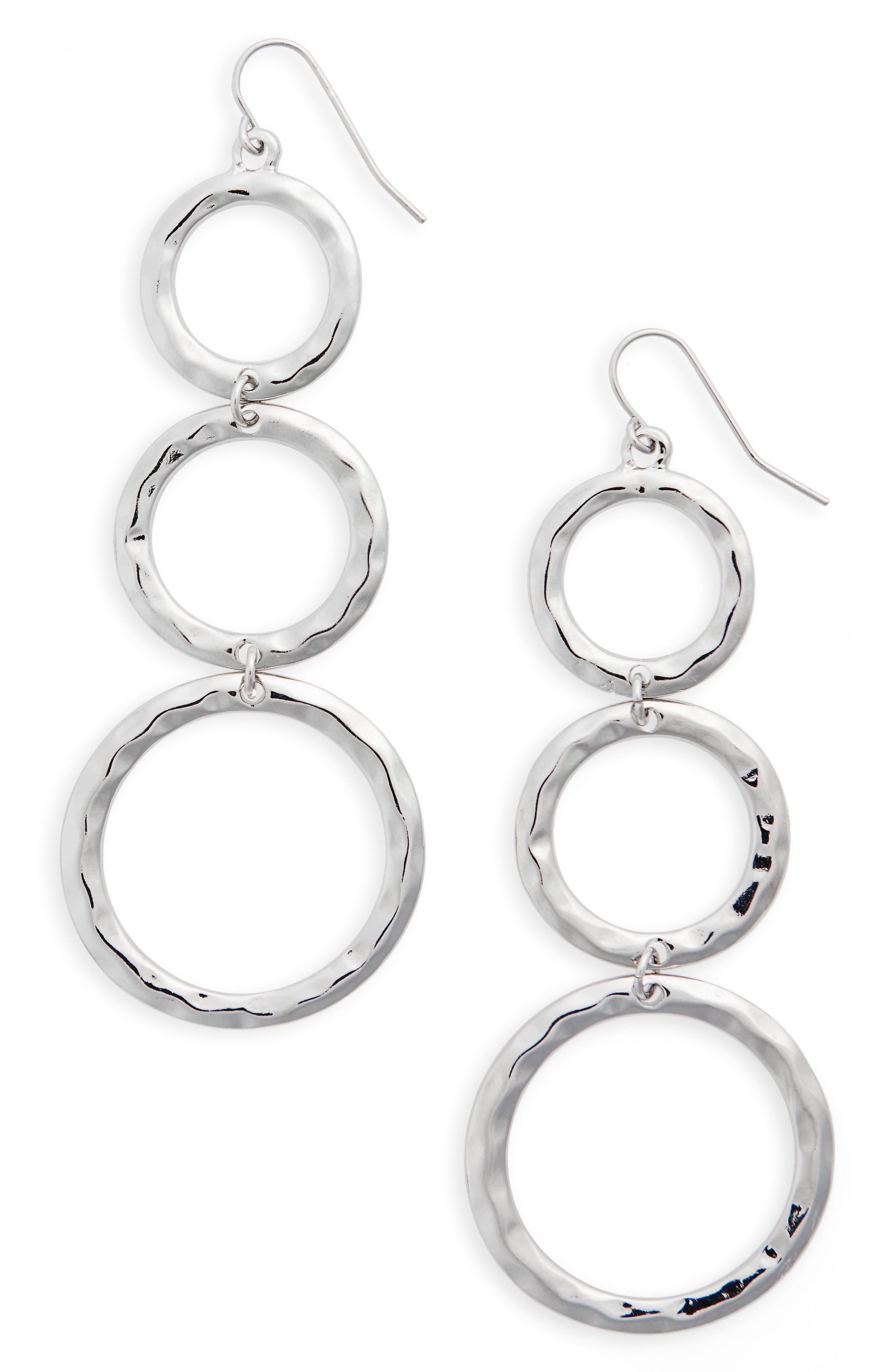 Circle Drop Earrings,                         Main,                         color, Silver